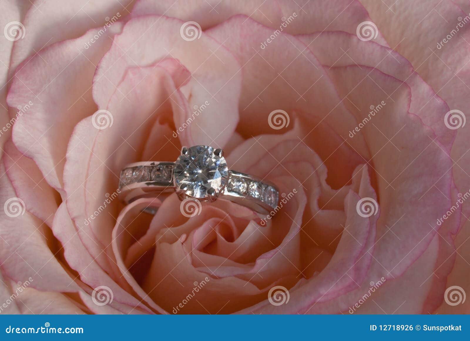 diamant ring im ausbreiten rosa rose lizenzfreies. Black Bedroom Furniture Sets. Home Design Ideas