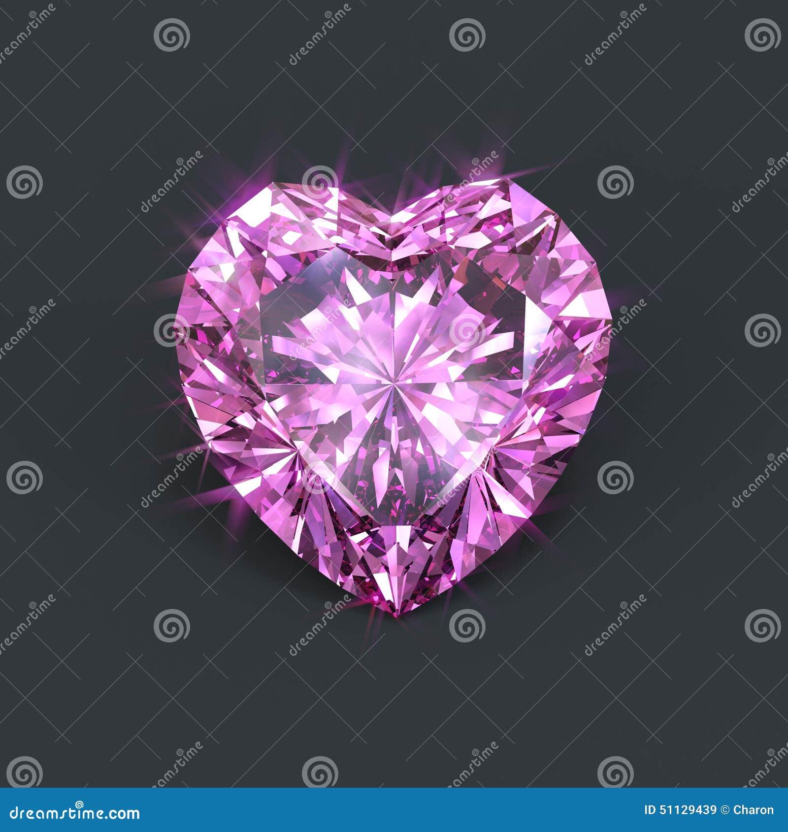 diamant rose d 39 isolement en forme de coeur illustration stock image 51129439. Black Bedroom Furniture Sets. Home Design Ideas