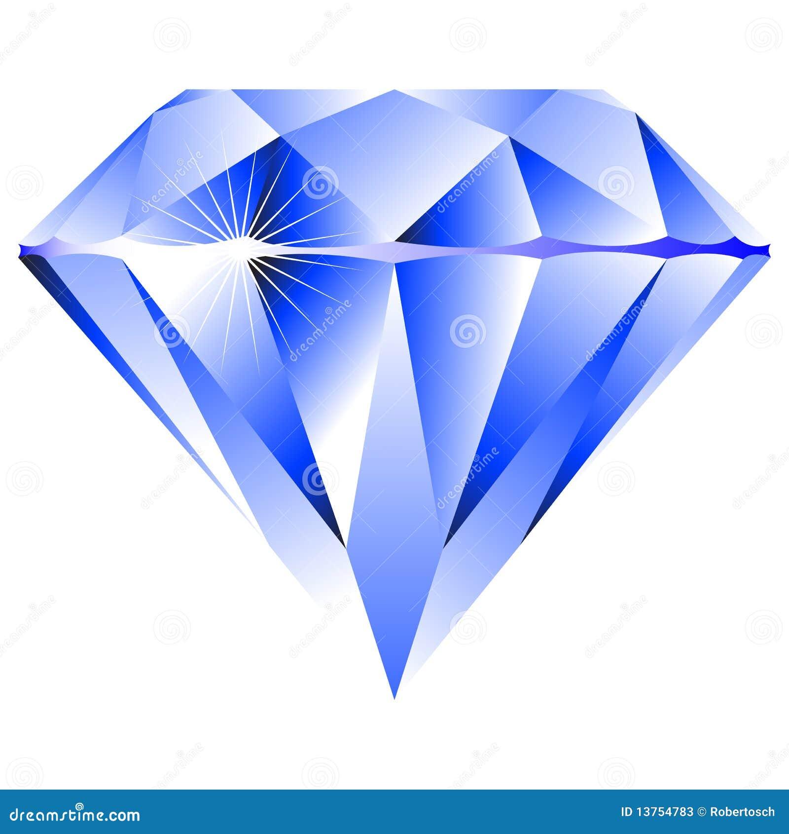 Diamante azul aislado en blanco