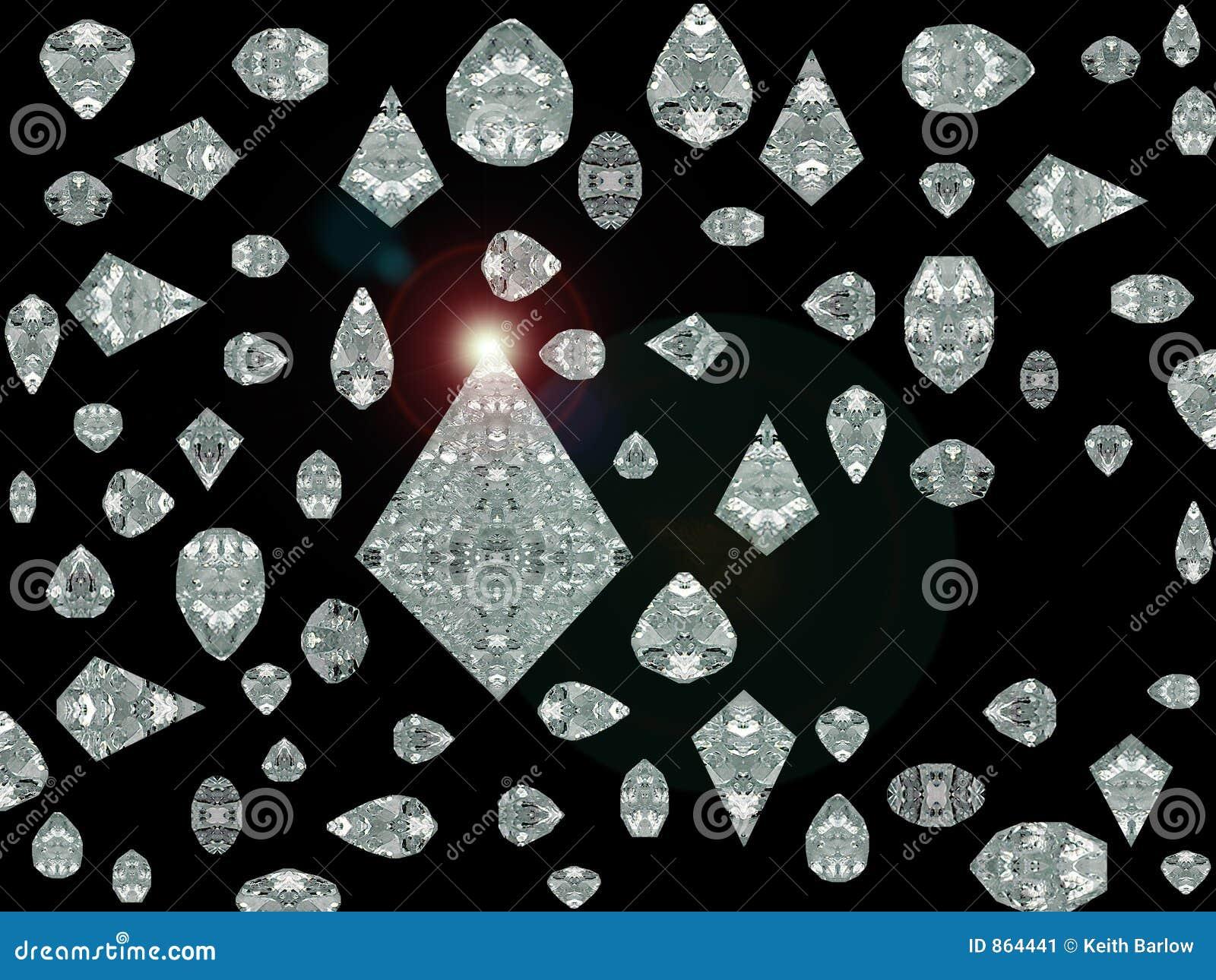 Diamantes simulados com alargamento da lente