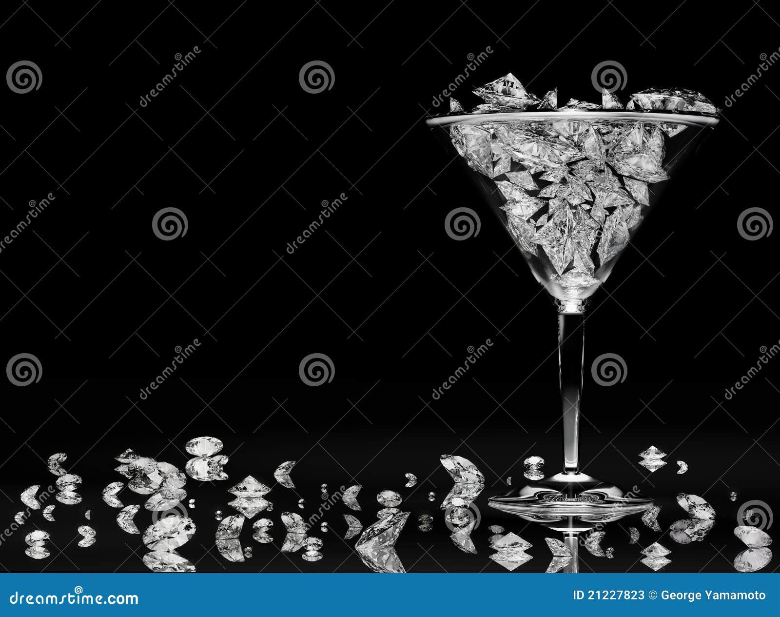 Diamanti in un vetro del martini