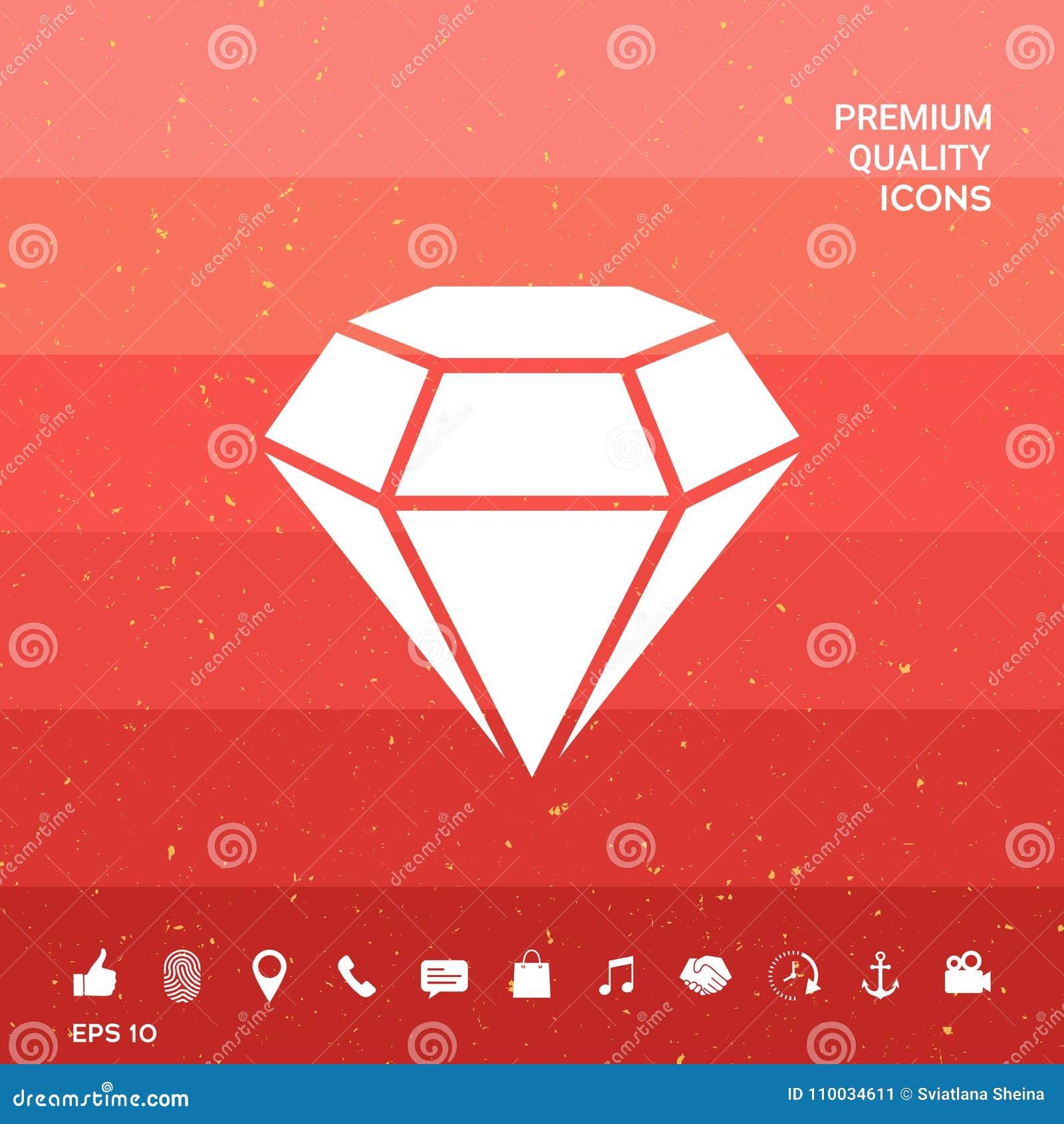 Diamantteken Juwelensymbool Gem Stone Vlak eenvoudig ontwerp