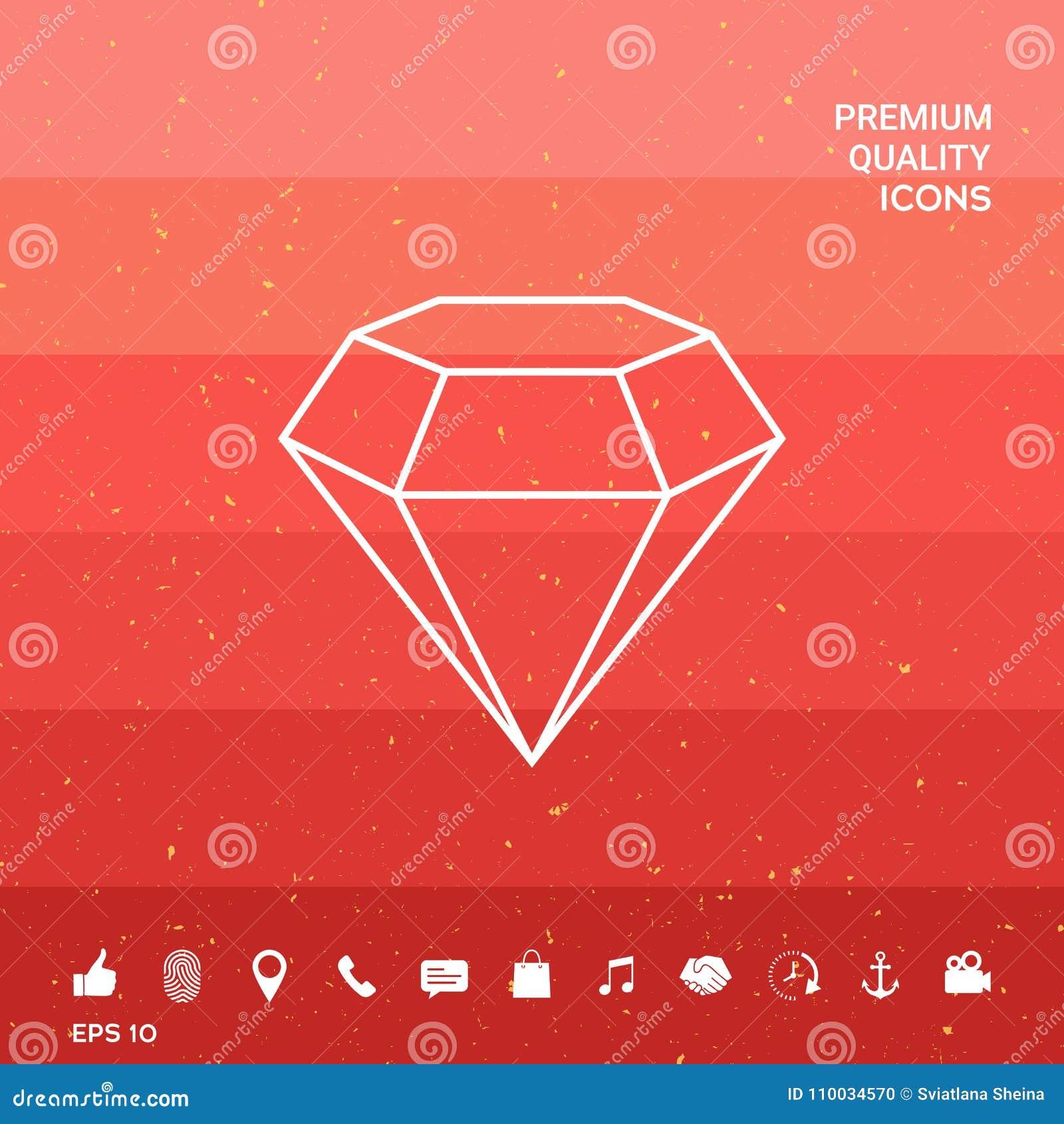 Diamantteken Juwelensymbool Gem Stone Vlak eenvoudig ontwerp - lijnpictogram