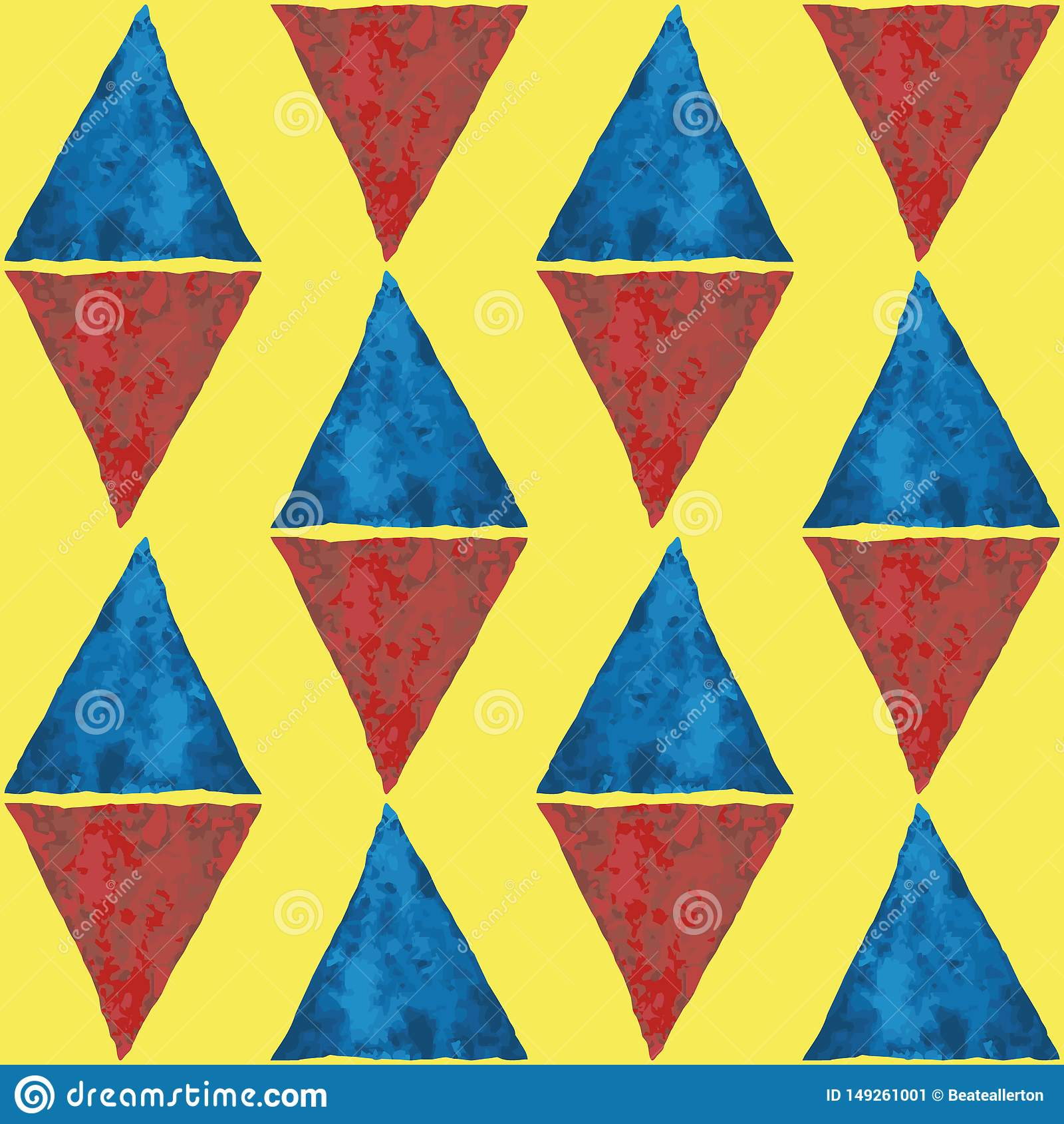 Diamantvormige blauwe en rode waterverfdriehoeken Abstract geometrisch vector naadloos patroon op heldere gele achtergrond