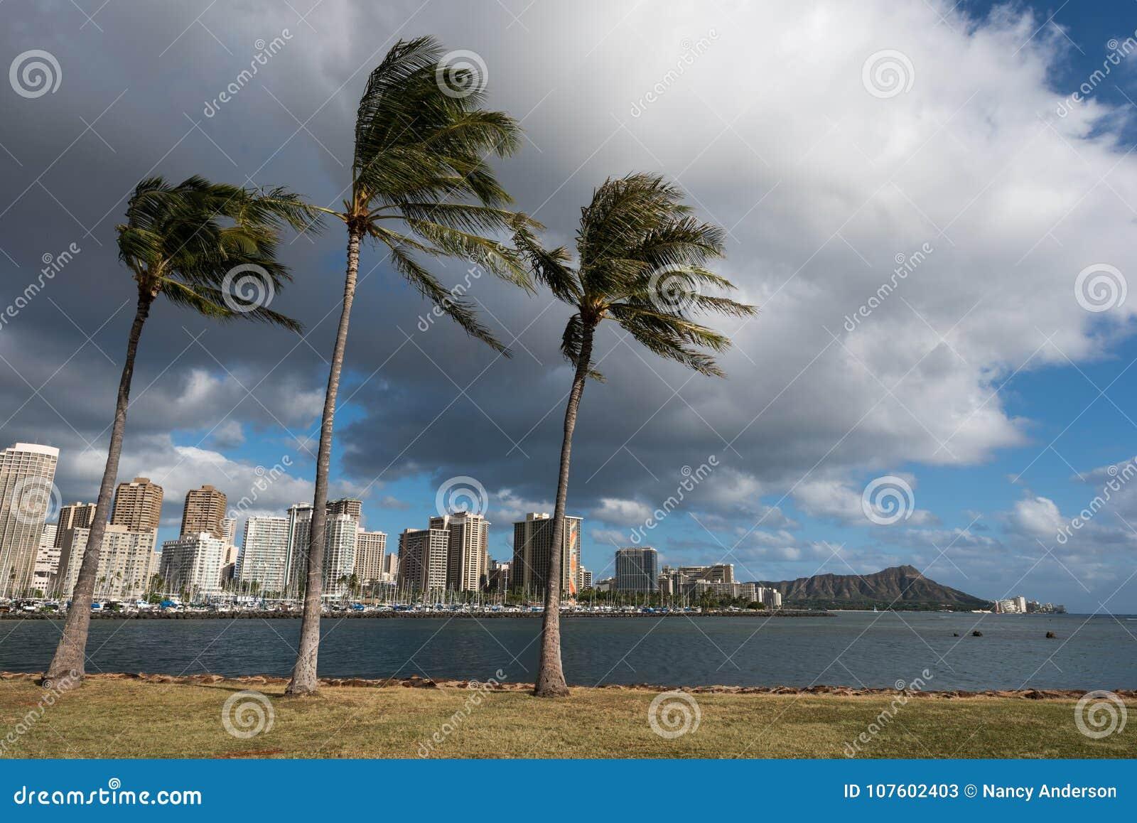 Diament głowa i Honolulu linia horyzontu od Magicznej wyspy