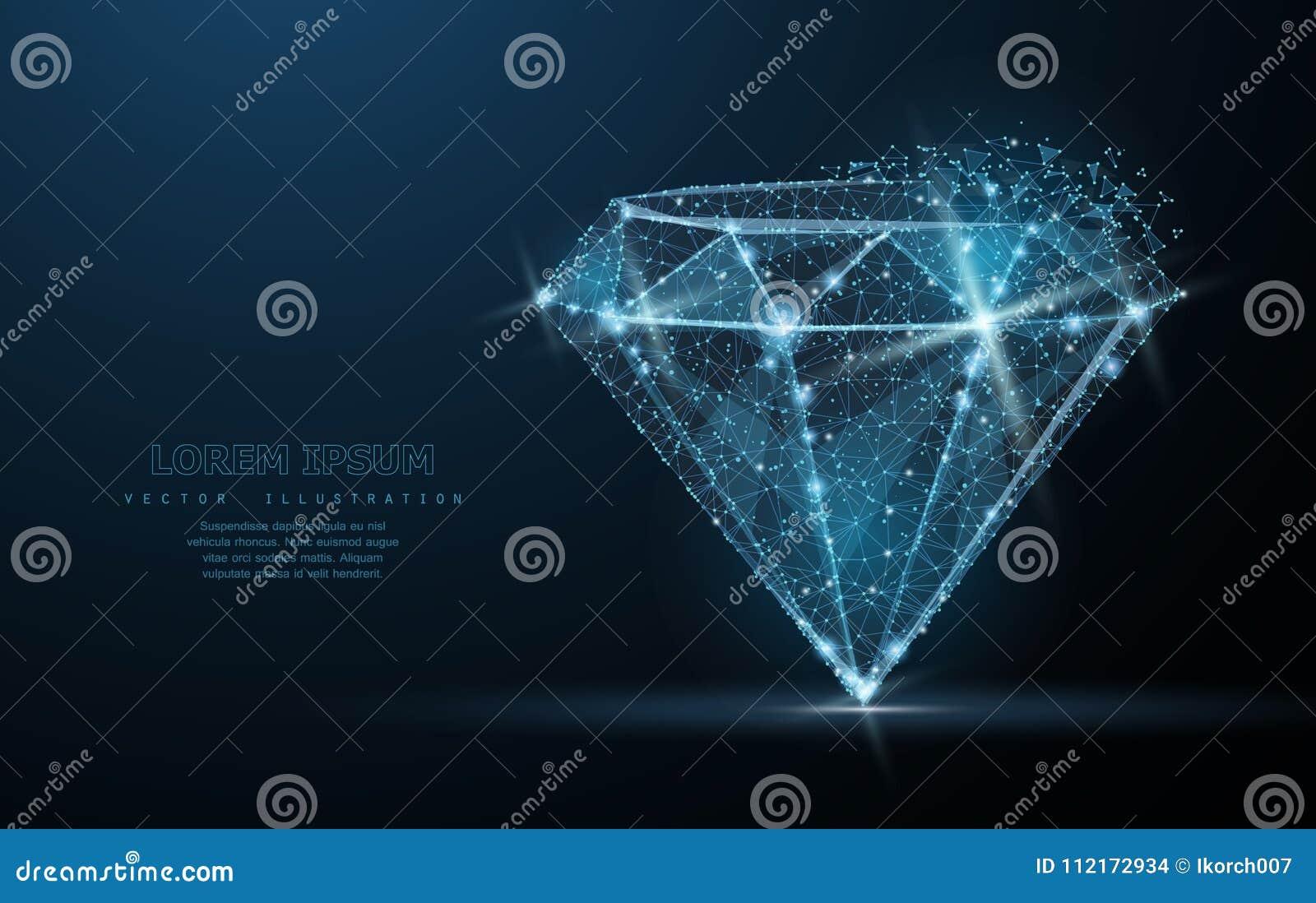Diament Niska poli- wireframe siatka Biżuteria, klejnot, symbol, ilustracja lub tło, luksusu i bogactwa,