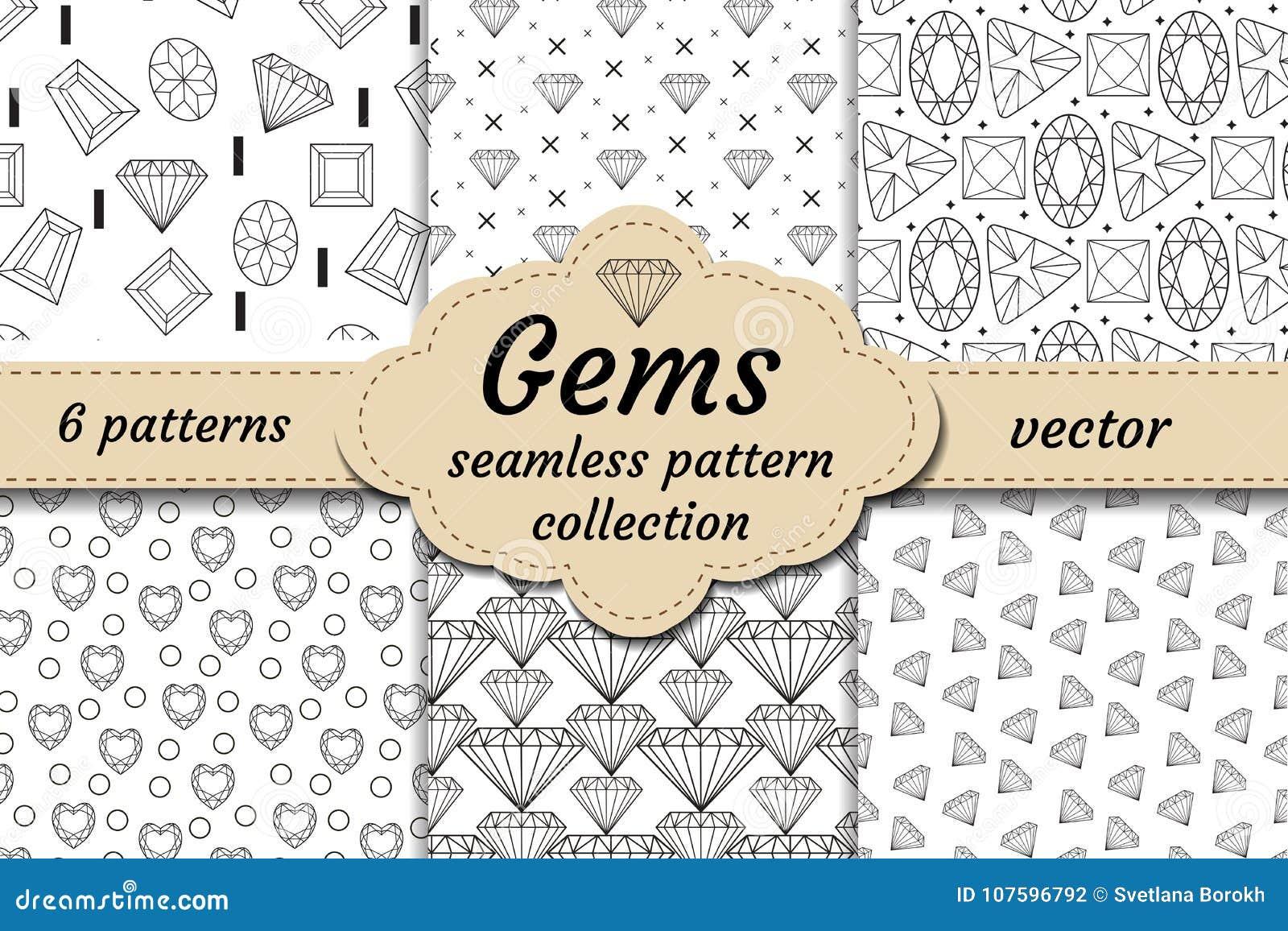 Diamentowy bezszwowy wzoru set, linia, nakreślenie, doodle styl Nowożytny modny niekończący się tło z biżuterią Klejnoty powtórko