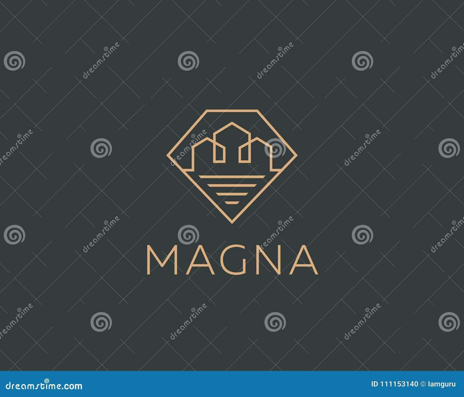 Diamentowy liniowy miasto domu logotyp Premii nieruchomości logo Klejnot ikony domowy symbol