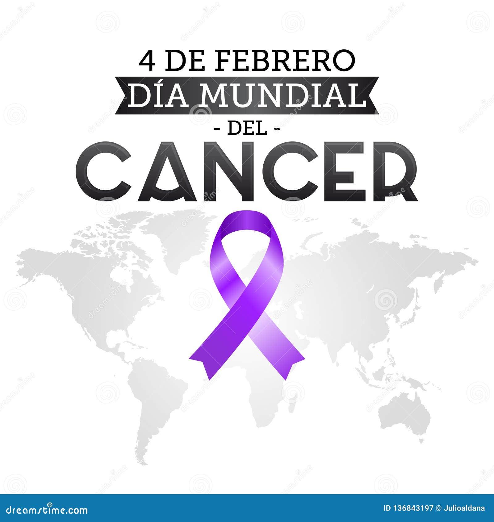 Diameter mundial del Cancer, februari för världscancerdag 4 spansk text Band och världskarta