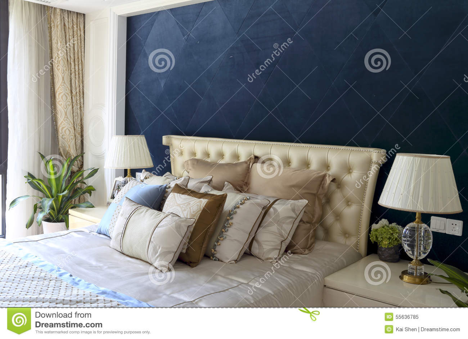 diamond blue curtain wall of the bedroom stock photo  image, Bedroom decor