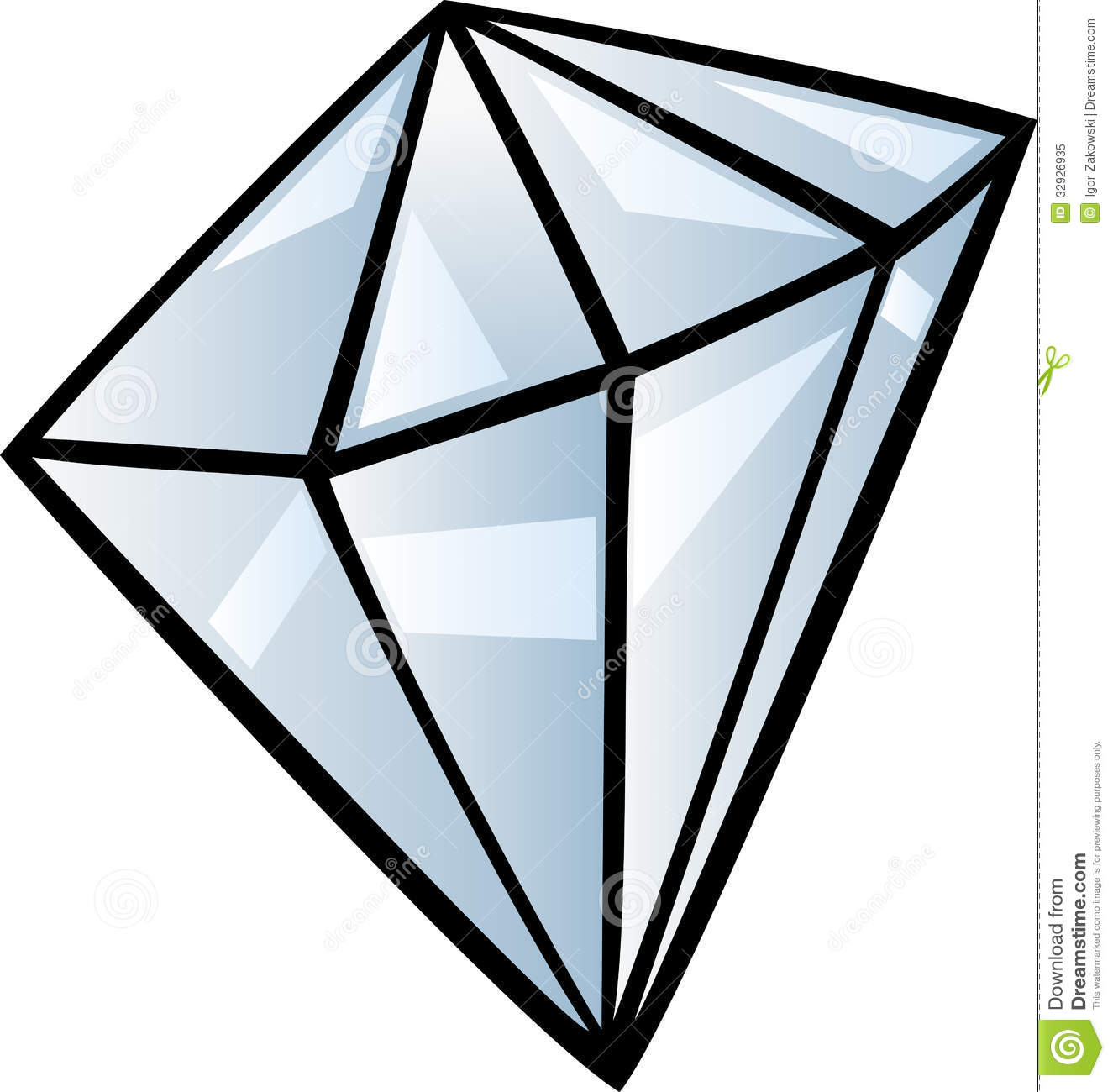 Cartoon Illustration of Diamond Gem Stone Clip Art.