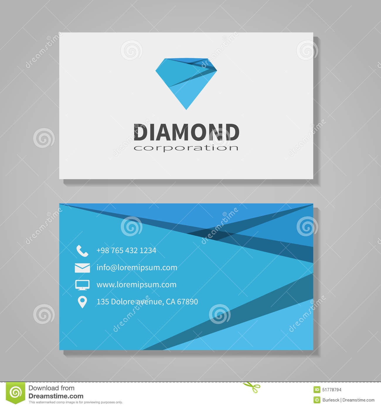 Diamond Corporation Business Card Template Stock Vector - Image ...
