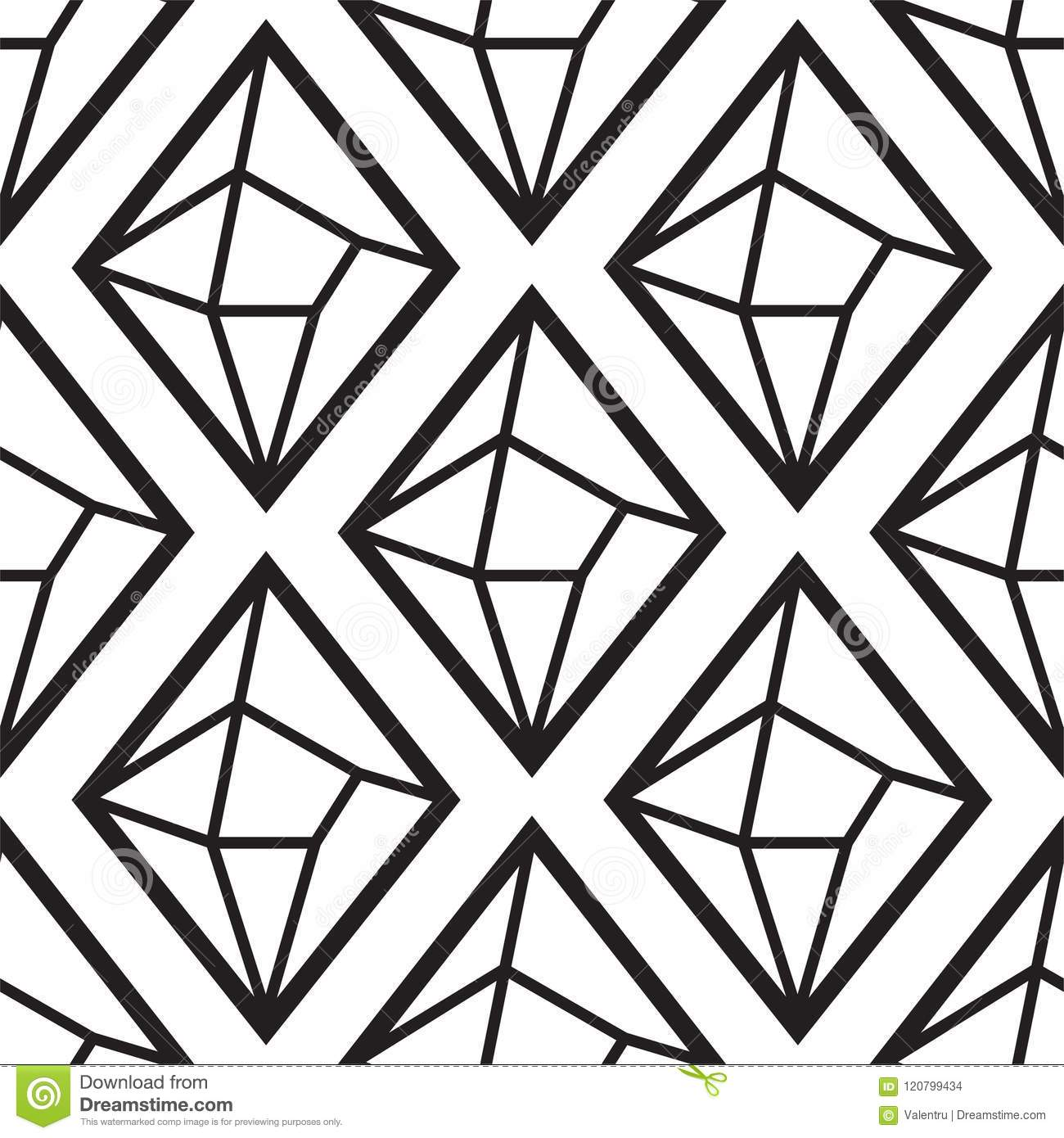 Diamond Or Crystal Seamless Pattern Geometric Style Black And White Outline Wallpaper