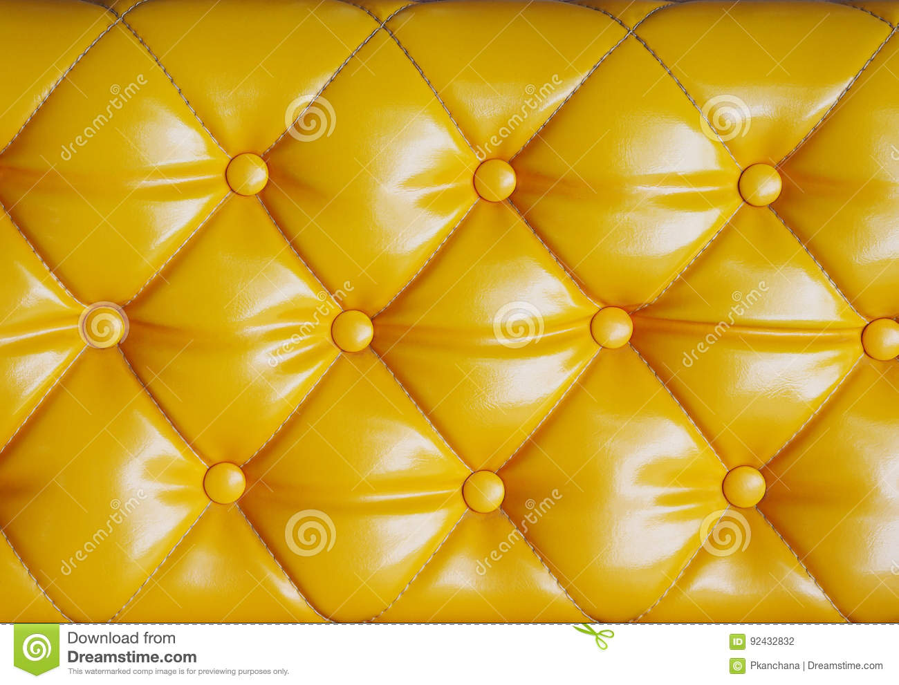 Diamond Cushion Pattern Of Yellow Vintage Sofa Texture And Back
