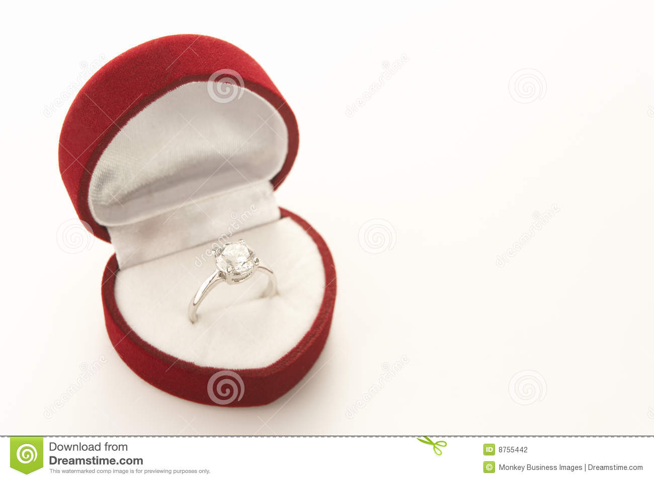 Diamond engagement in heart shaped box stock photography for Heart shaped engagement ring box