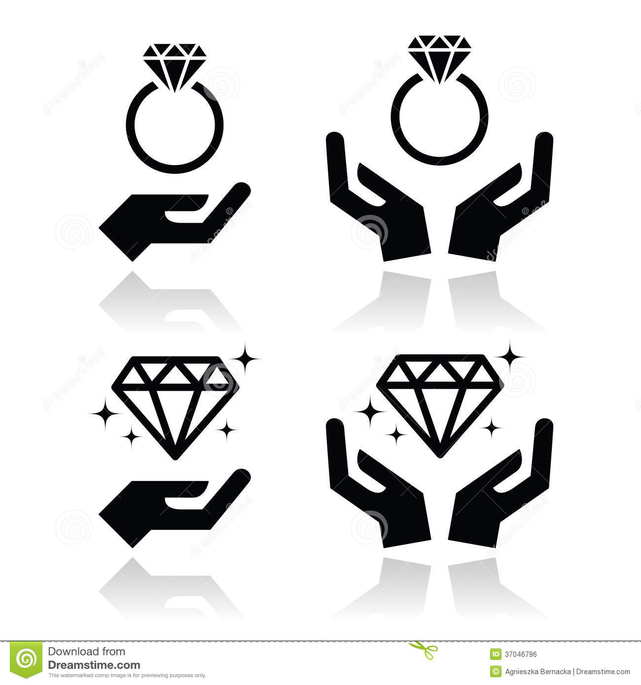 Diamond Engagement Ring With Hands Icon Royalty Free Stock Image