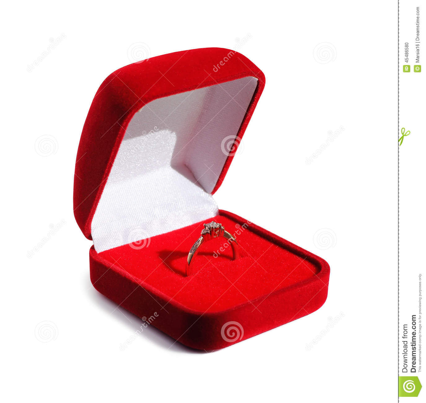 Diamond engagement wedding ring in open red box