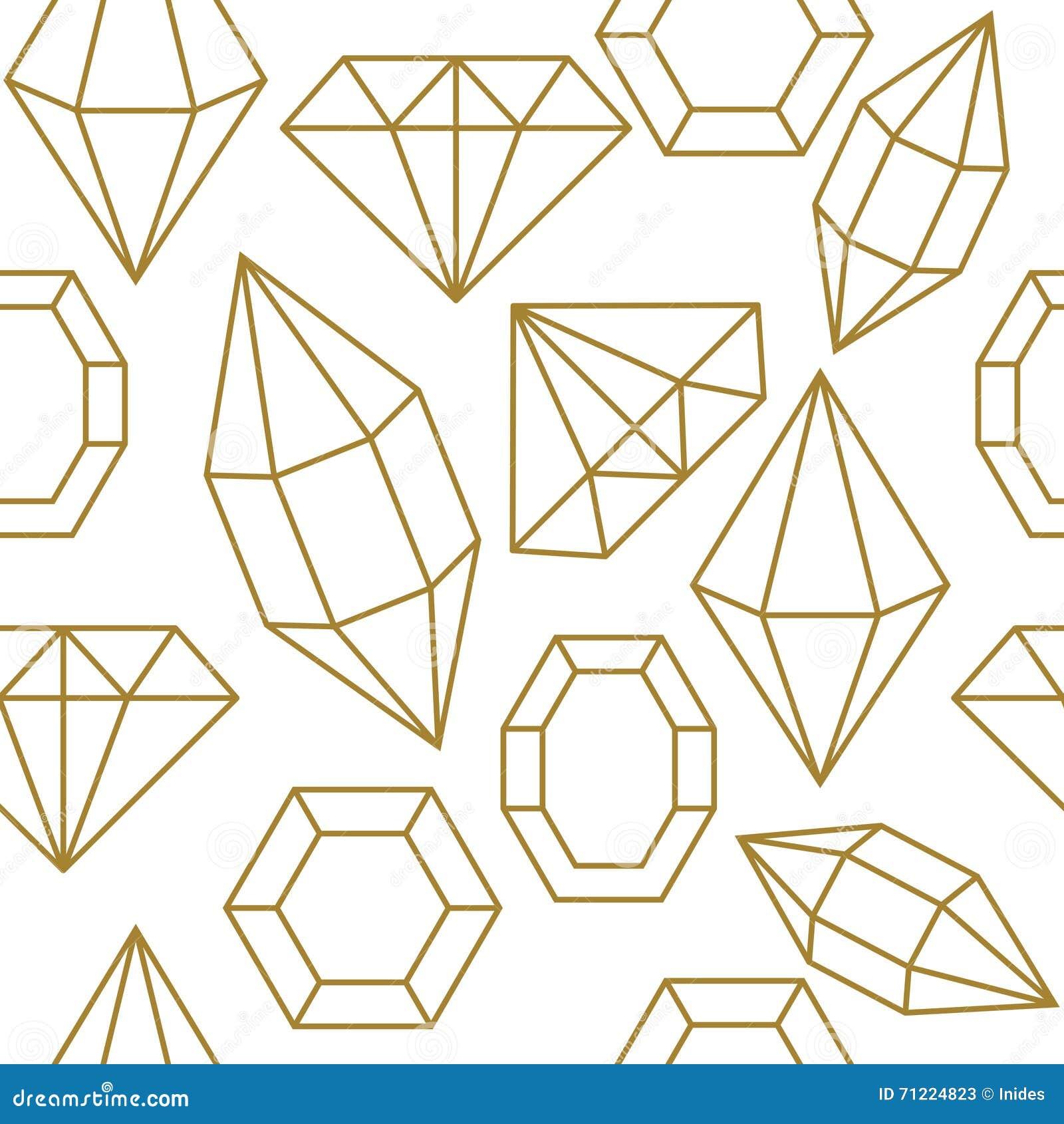 Diamond Gem Shape Seamless Pattern. Stock Vector - Image ...