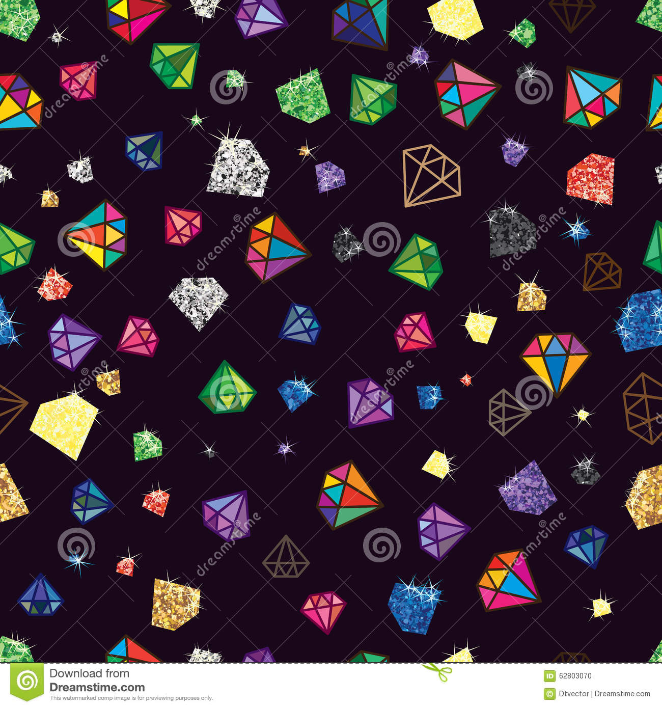 Diamond Glitter Color Shape Seamless Pattern Stock Vector ...
