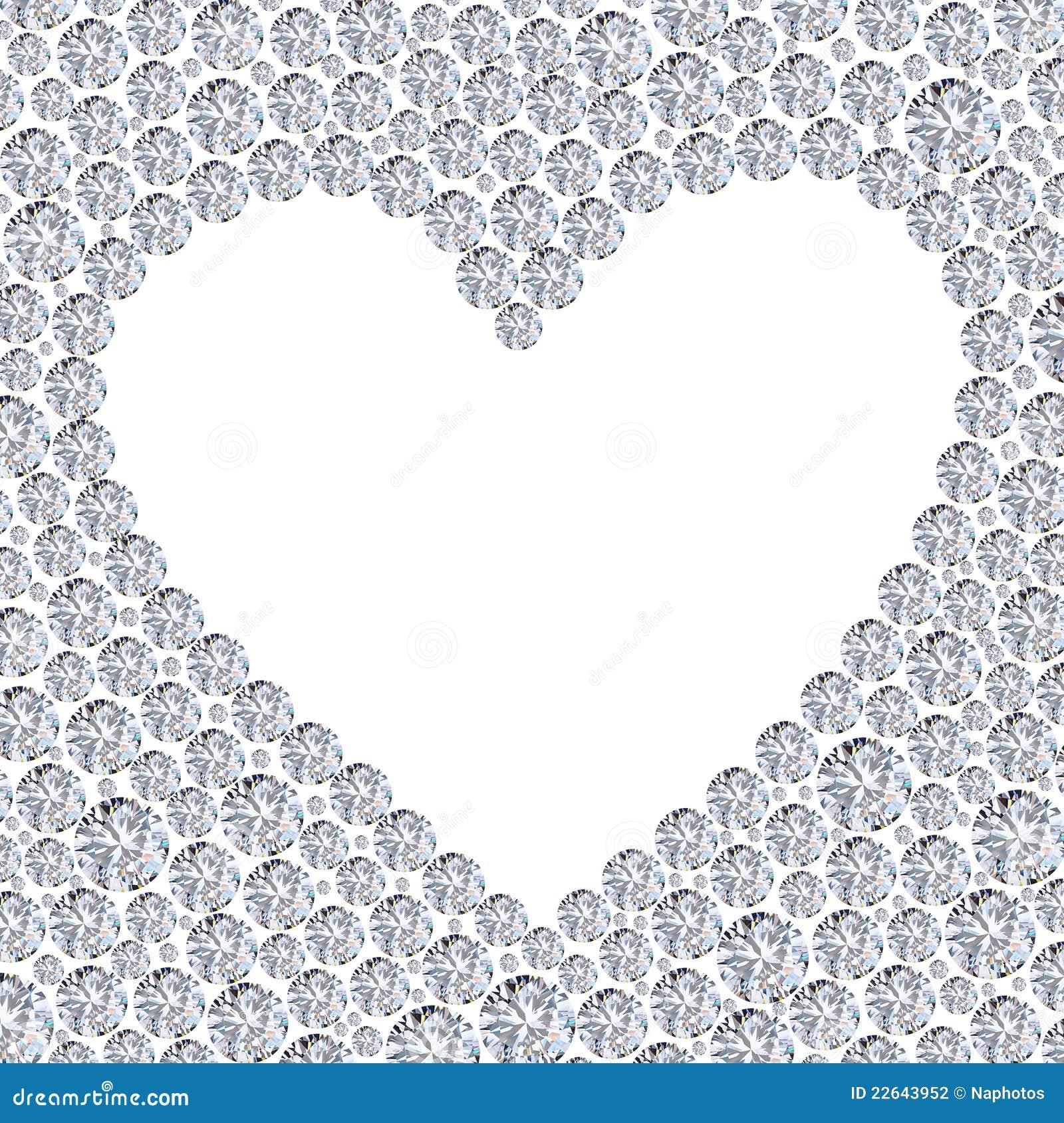 Diamond heart frame stock illustration. Illustration of gemstone ...
