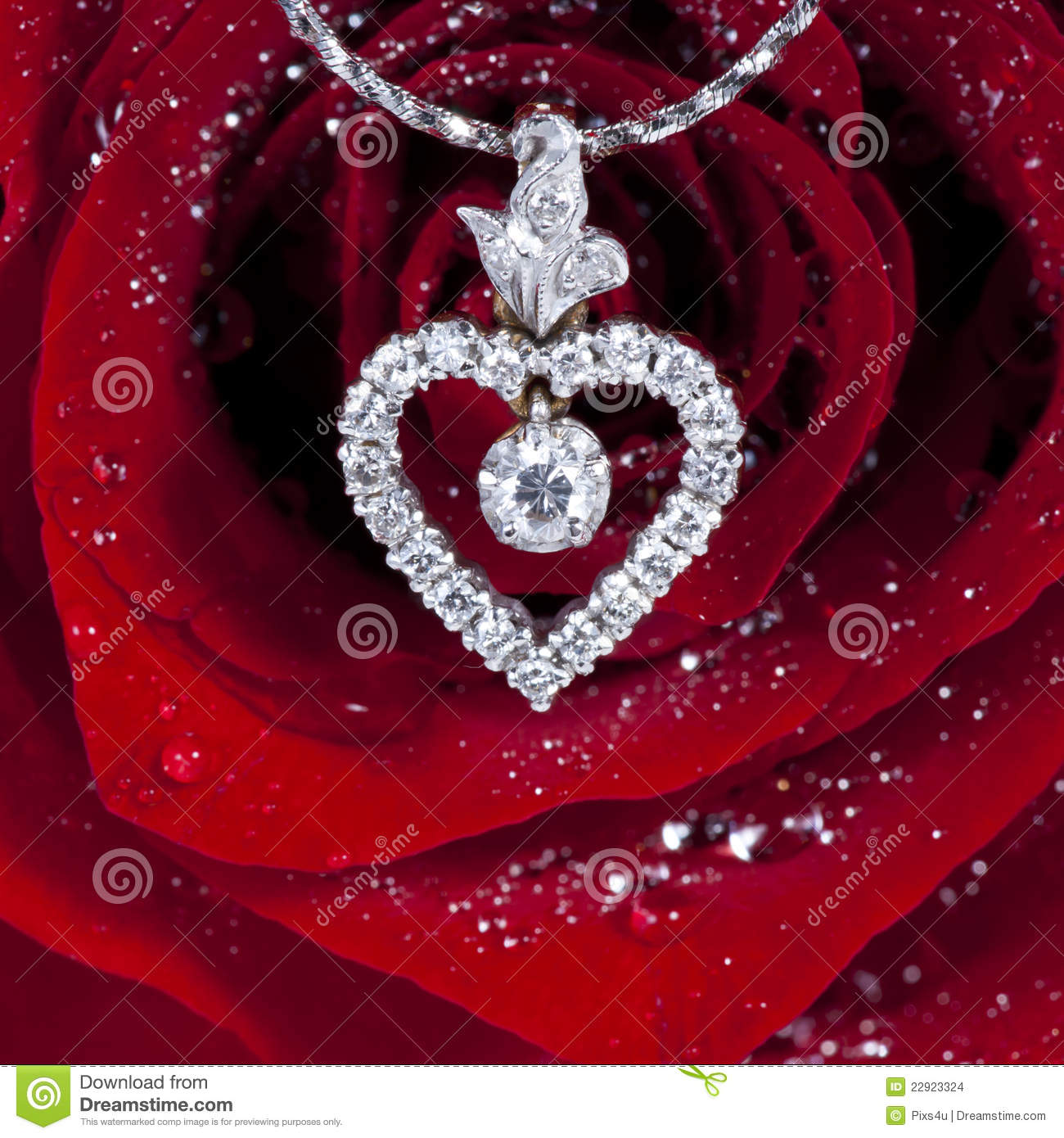 Diamond Heart Shape Pendant With Red Rose Stock Photo
