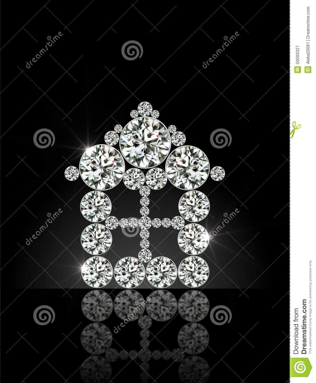 diamond house on a black background stock illustration - image
