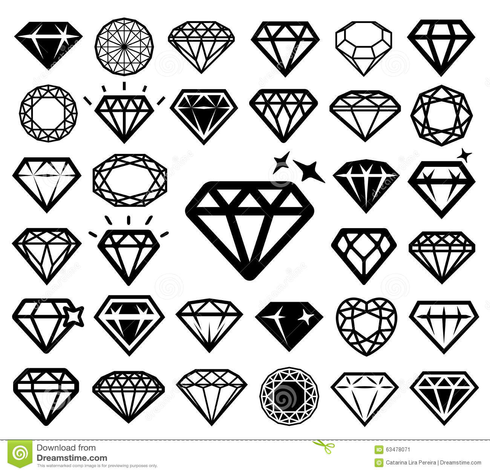 Diamond Icons Set Stock Vector Image 63478071