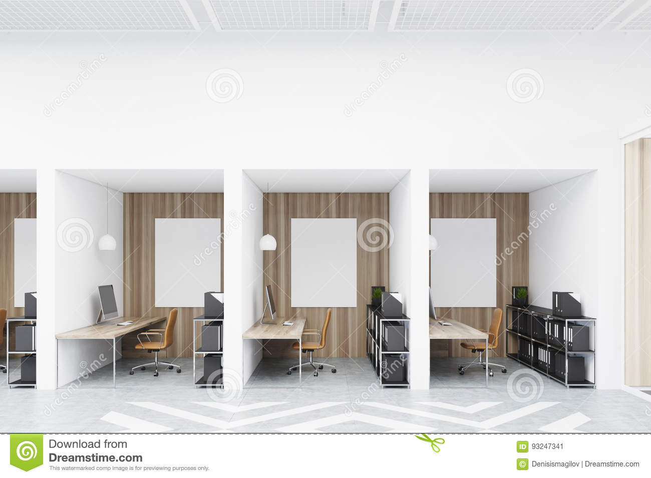 Diamond Office Cubicles With Pictures Stock Illustration