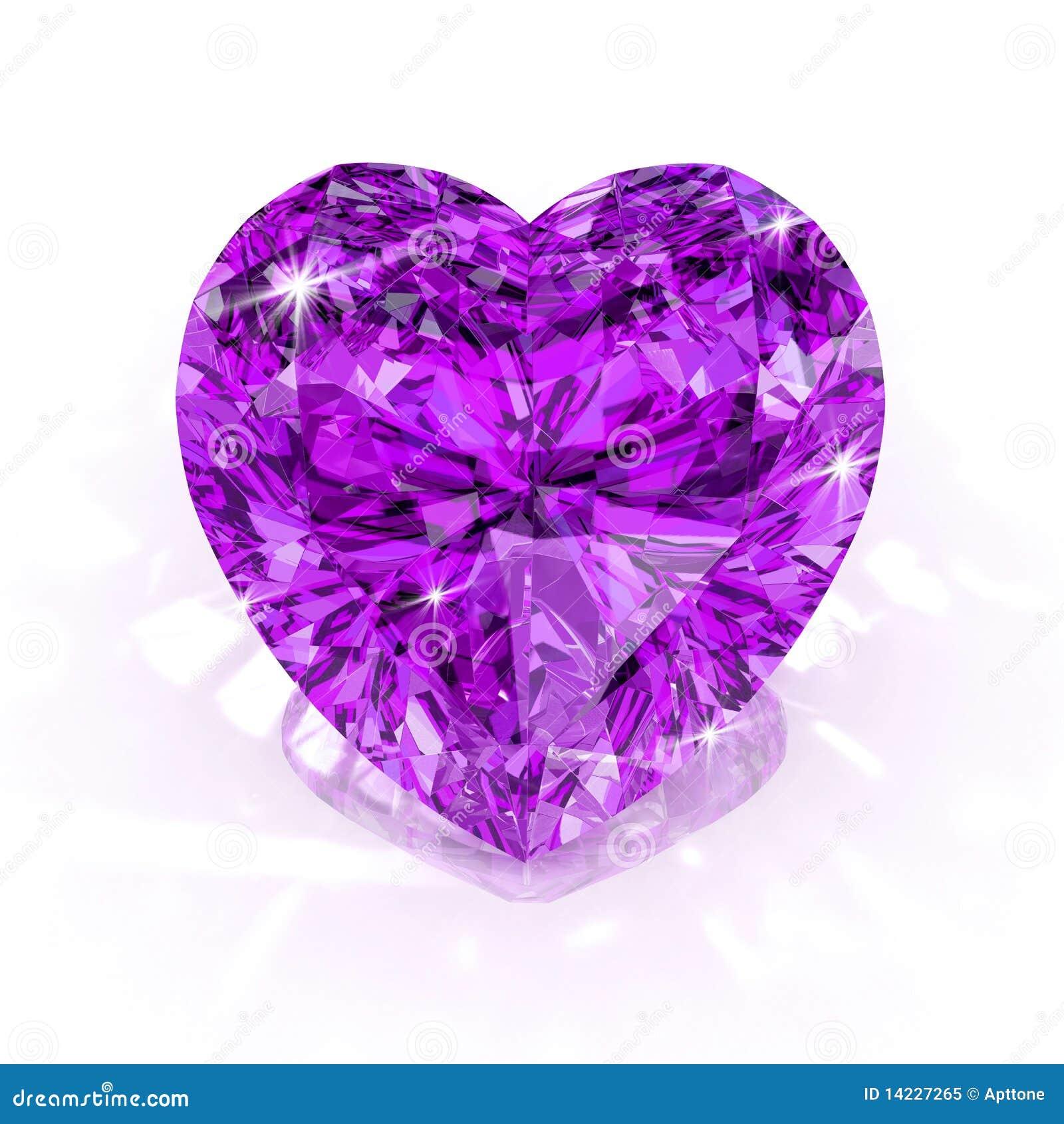 Diamond Purple Heart Shape Royalty Free Stock Photo - Image: 14227265