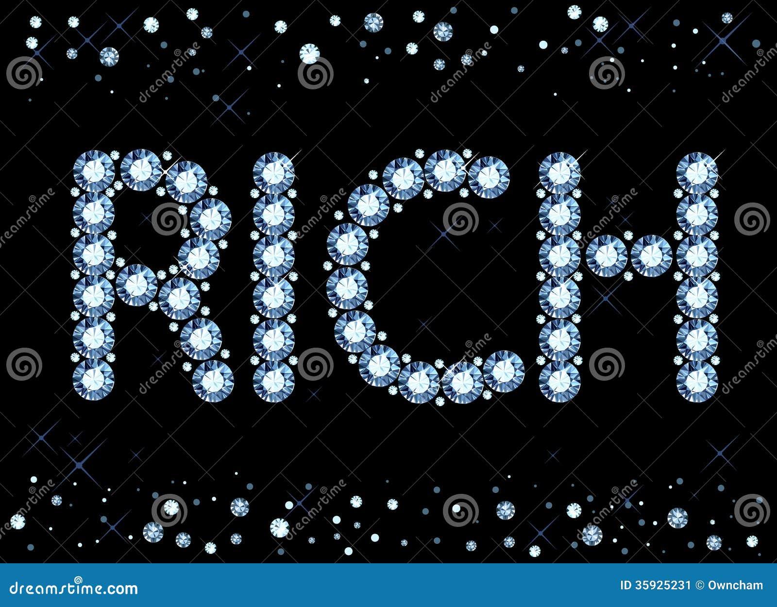 diamond rich word stock image