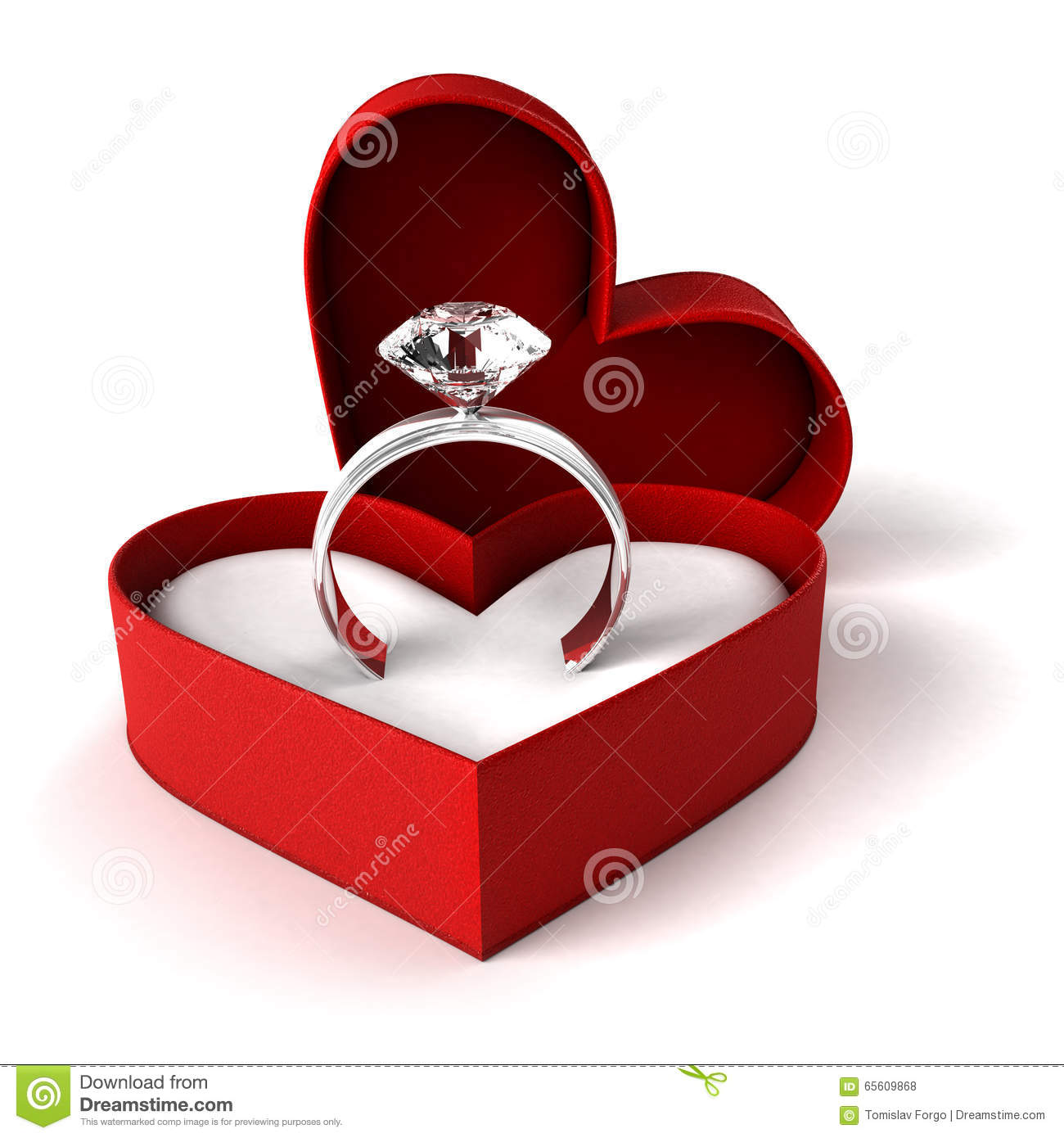 Diamond ring stock photo image 65609868 for Heart shaped engagement ring box