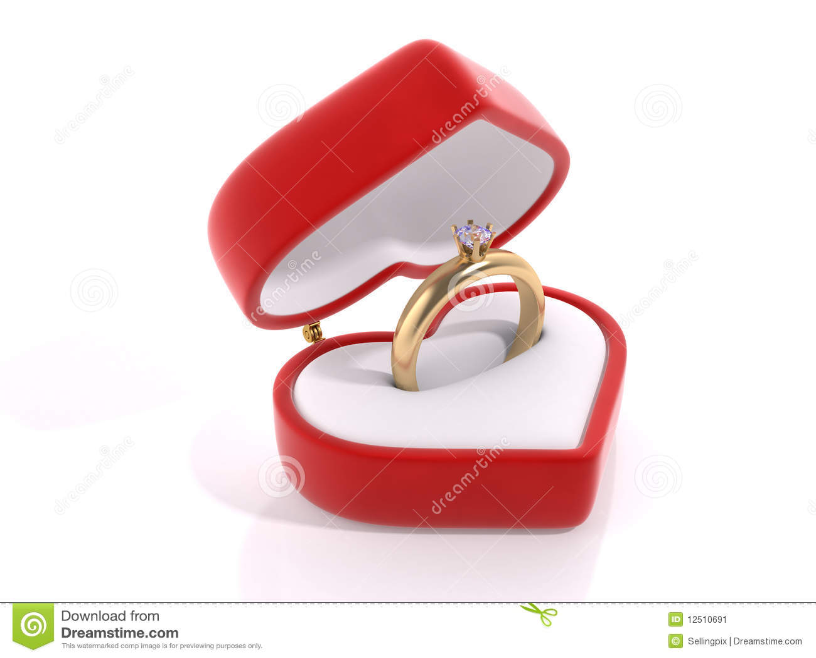 Diamond ring in the heart box stock illustration for Heart ring box