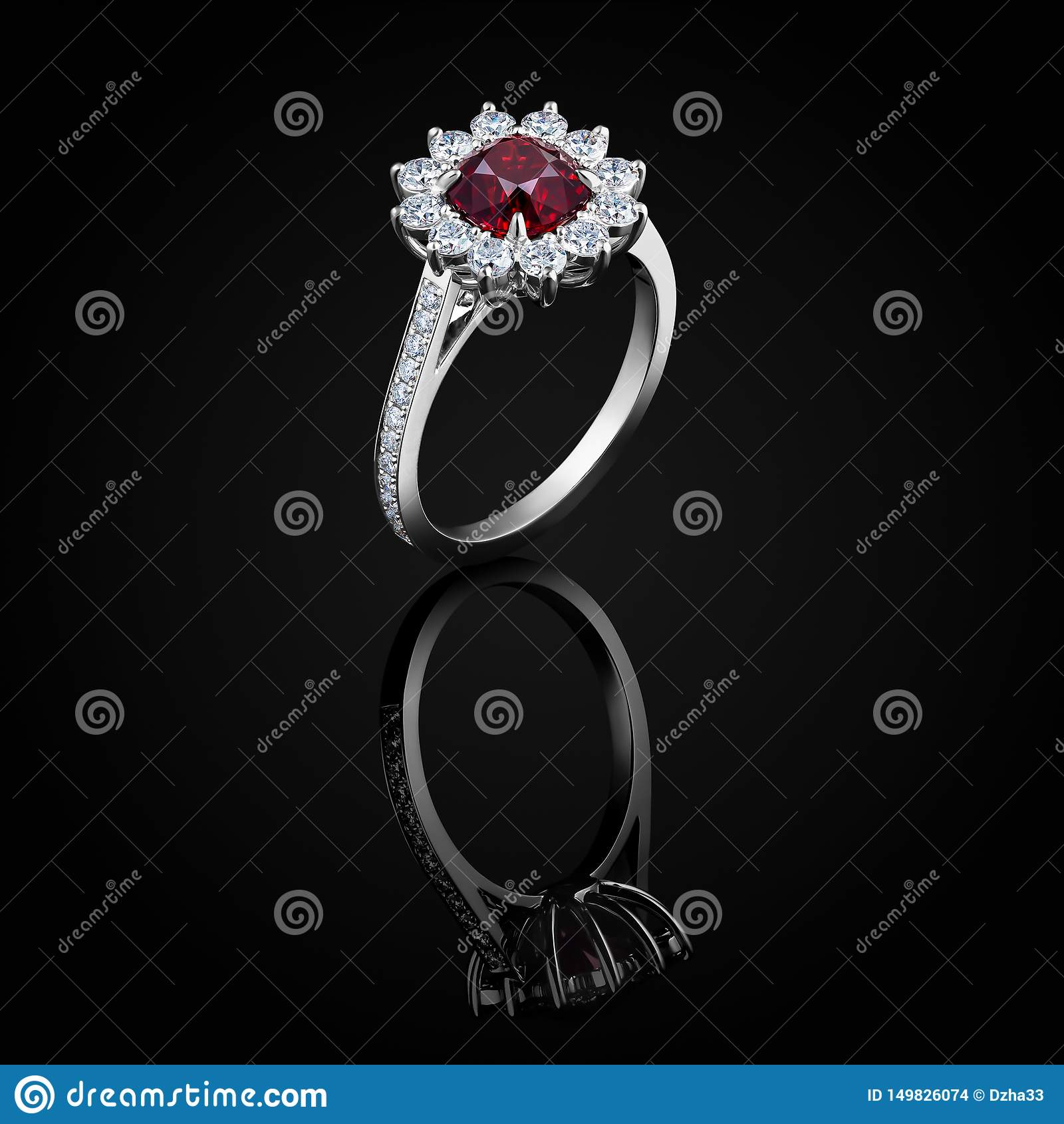 Diamond Ring With Luxury Red Ruby Sparkling Gemstone Isolated On