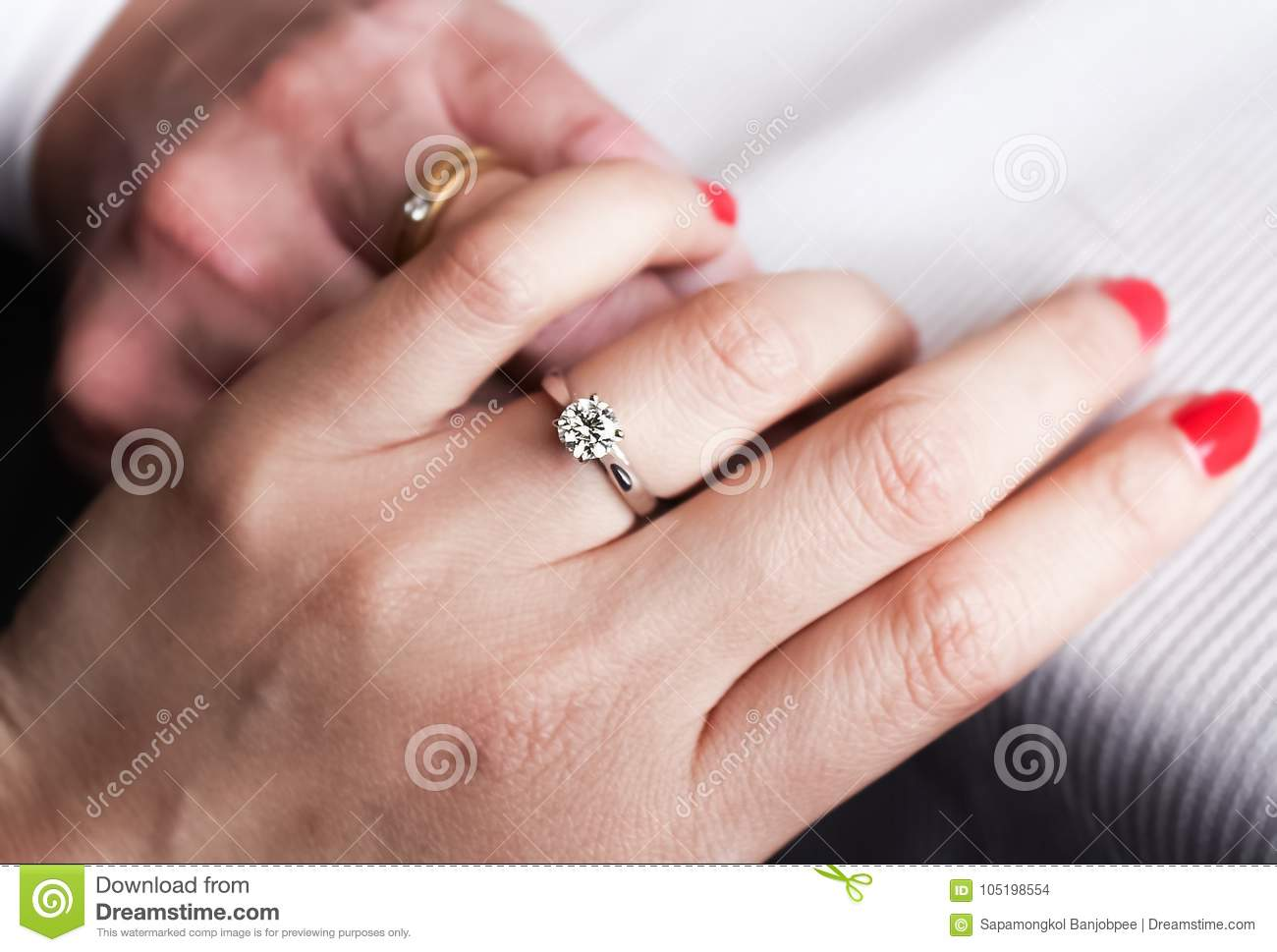 Diamond Ring On Two Hands Wedding Romantic Stock Photo - Image of ...
