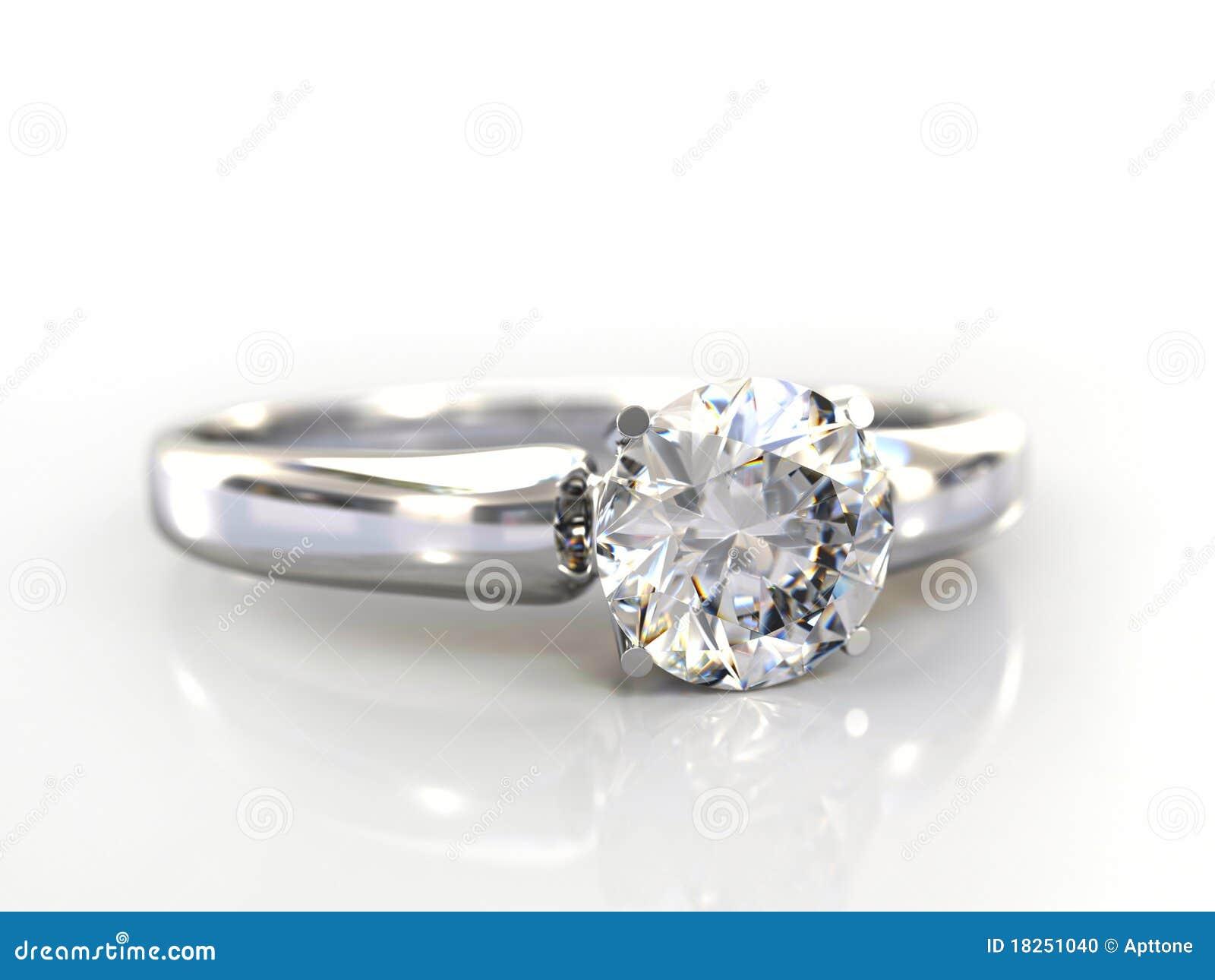 Diamond Wedding Gift Ideas: Diamond Ring Wedding Gift Isolated Stock Photo