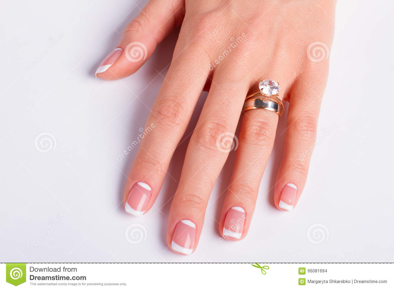 Diamond Ring And Wedding Ring On Woman\'s Finger. Stock Photo - Image ...