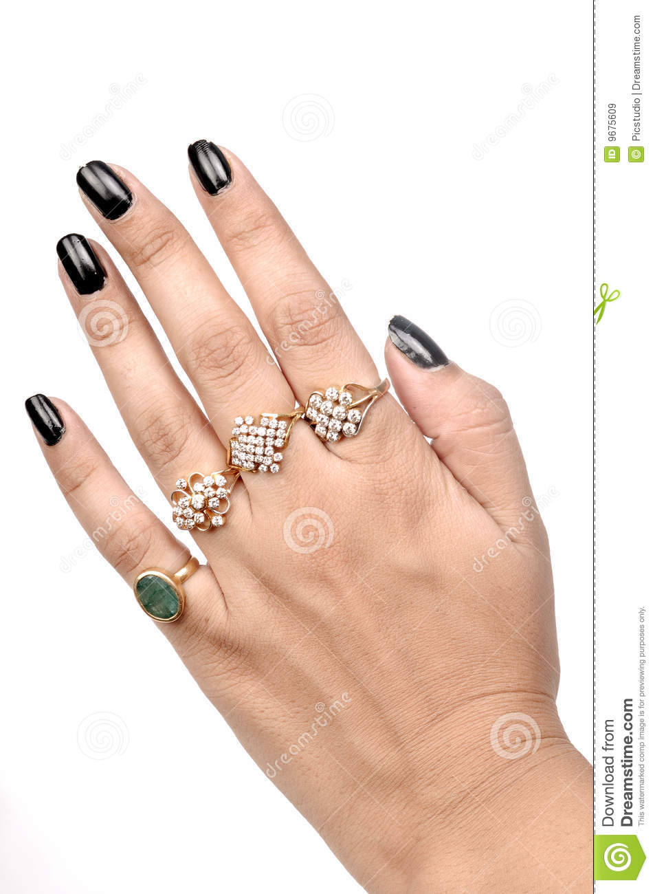 Diamond gold rings on fingers
