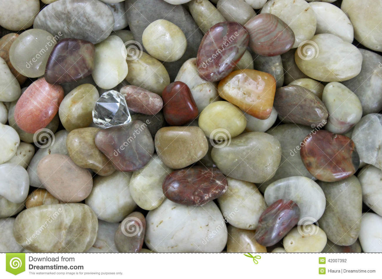 Natural River Rock : Diamond in the rough natural colored small smooth stone