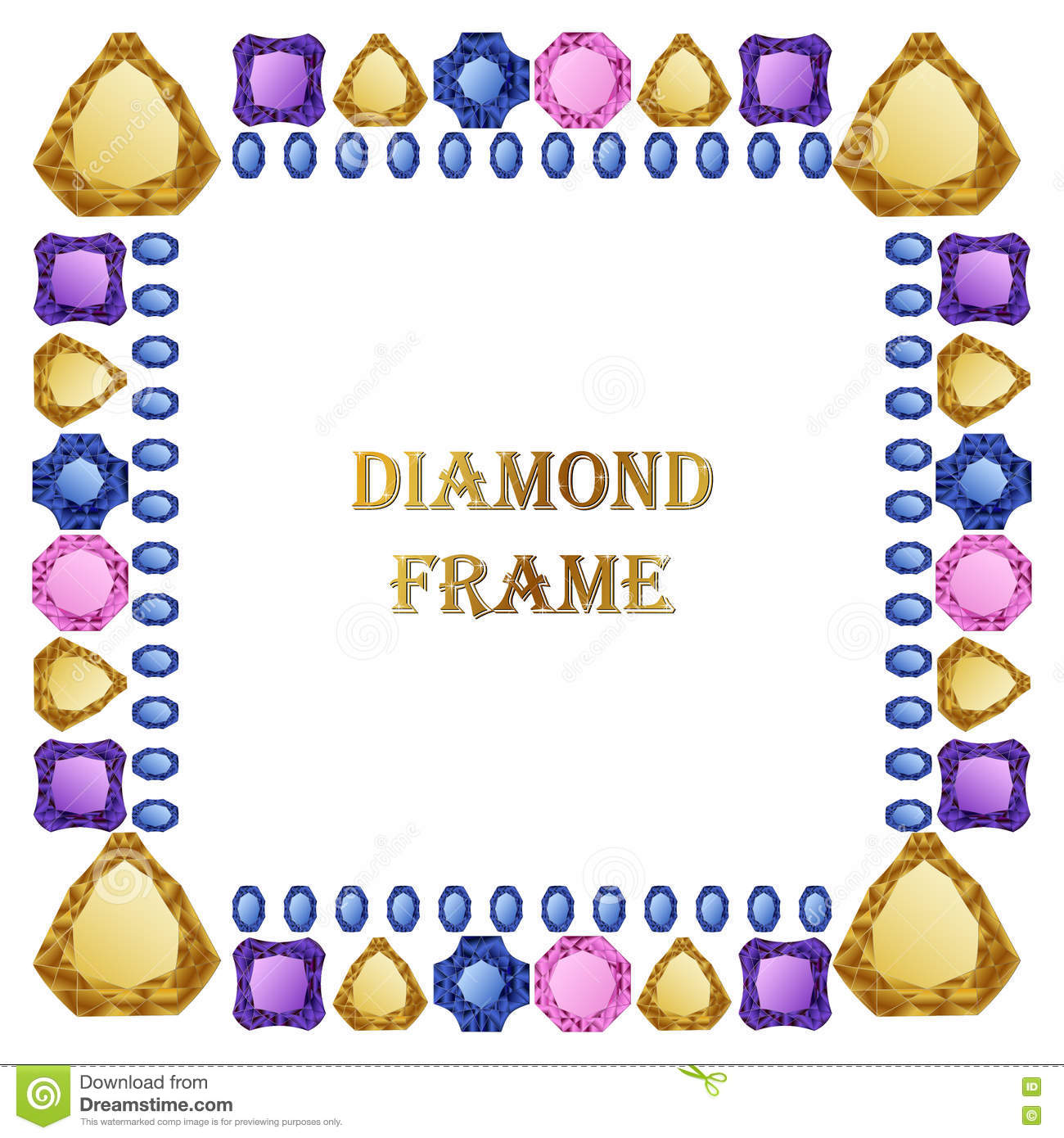 Diamond square frame stock vector. Illustration of jewel - 72595706