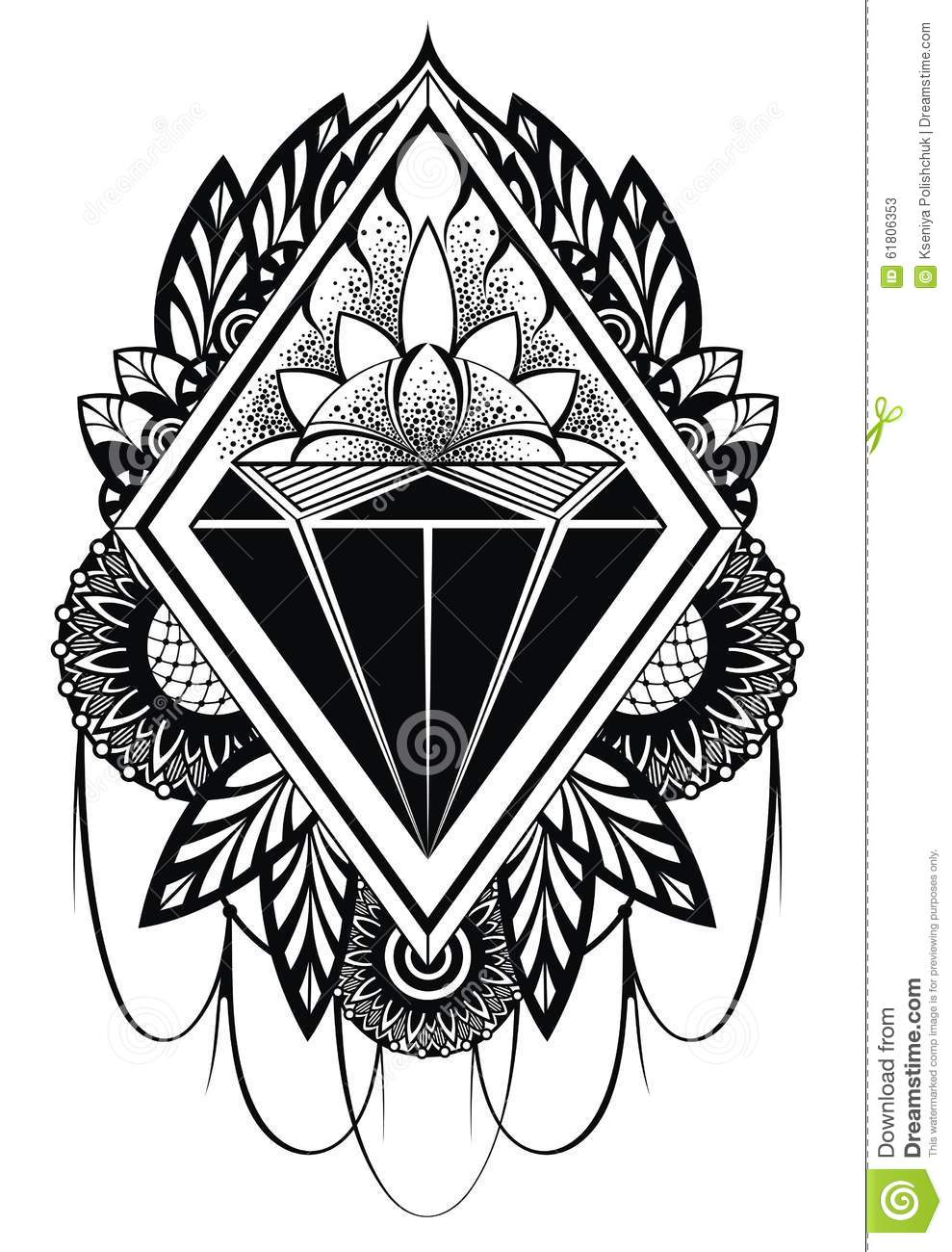 Diamond Tattoo Stock Vector Image 61806353
