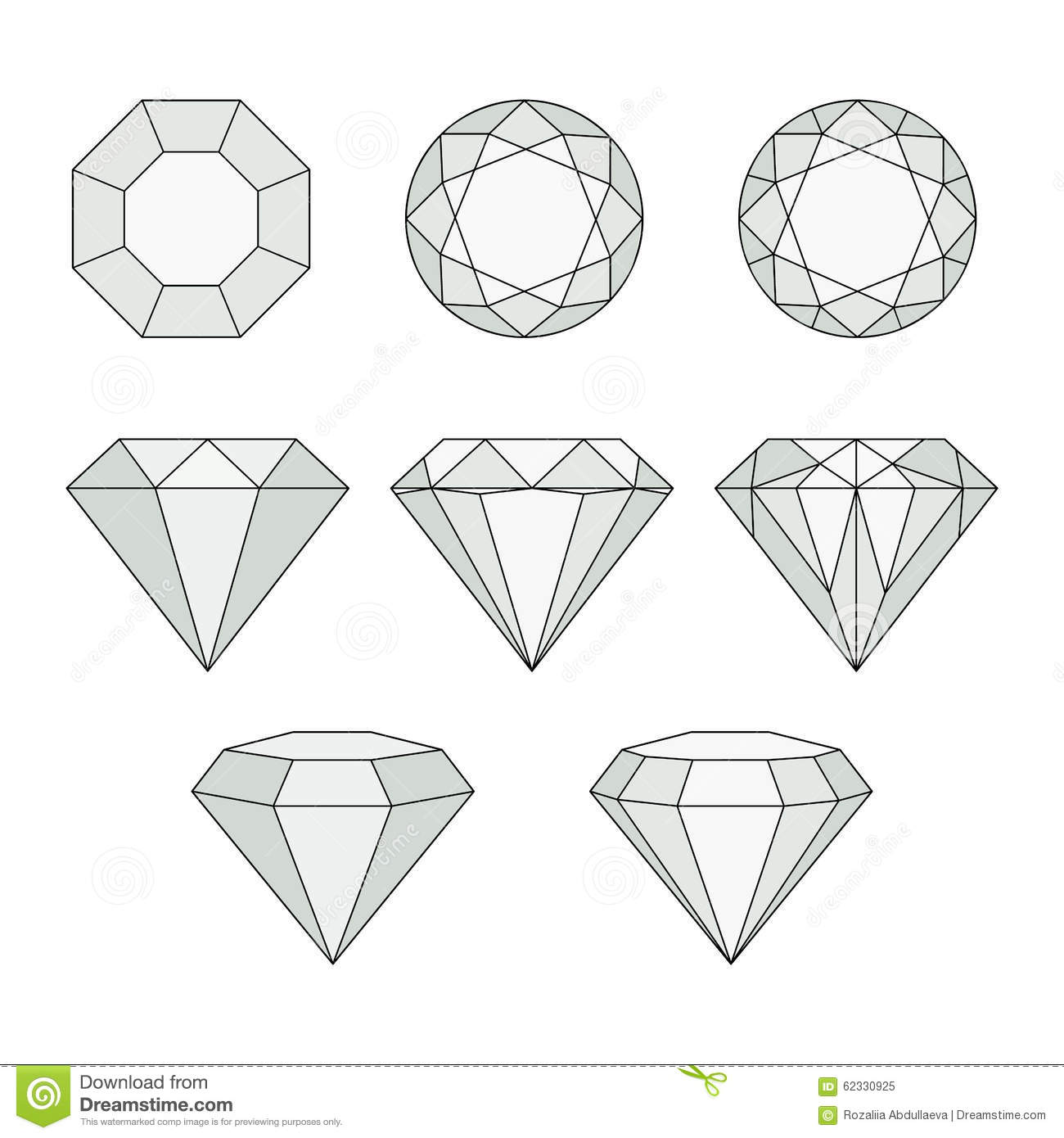 Set of gem stones.Vector set of diamond design elements. Precious gem ...