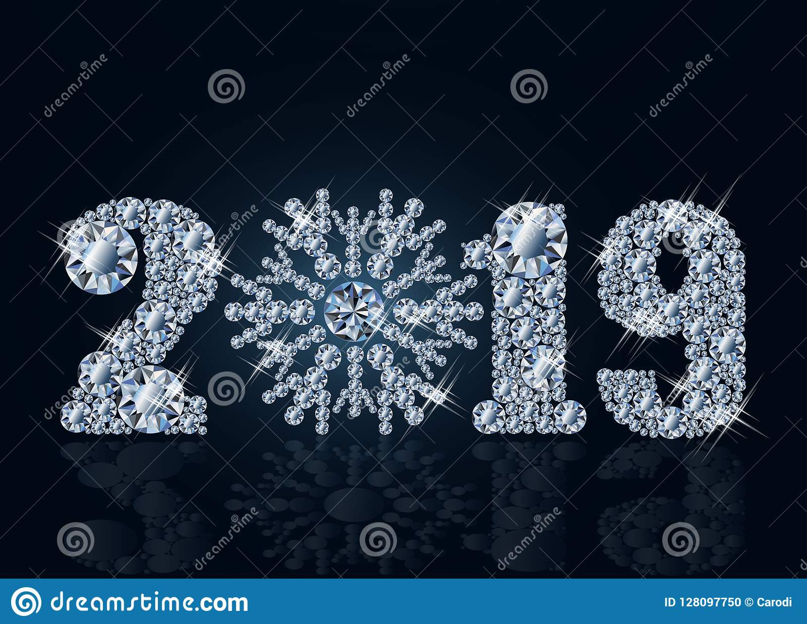 Diamond Wallpaper With Xmas Ball, Happy New 2019 Year ...