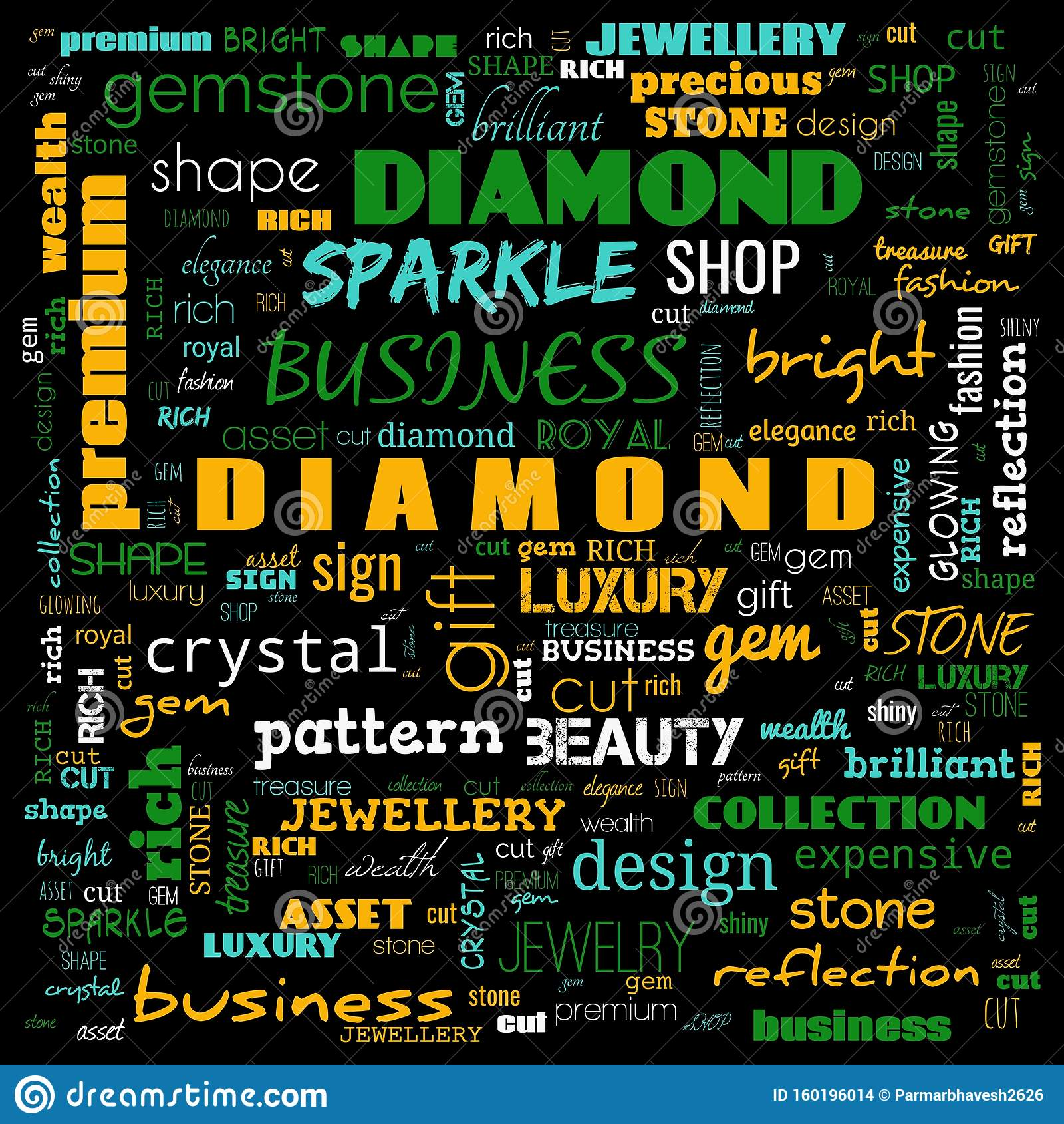 Diamond Word Cloud,text, Word Cloud Use For Banner, Painting, Motivation,  Web-page, Website Background, T-shirt & Shirt Printing, Stock Photo - Image  of gemstone, isolated: 160196014