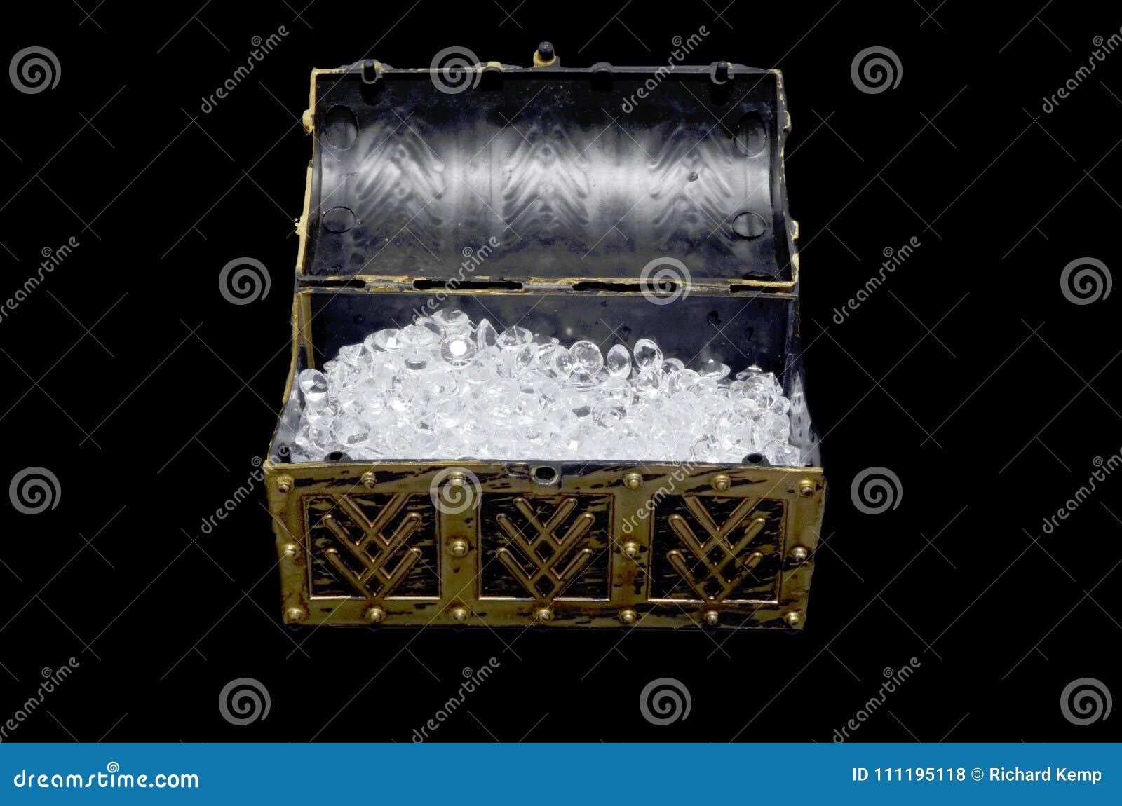 Diamonds in an open treasure chest