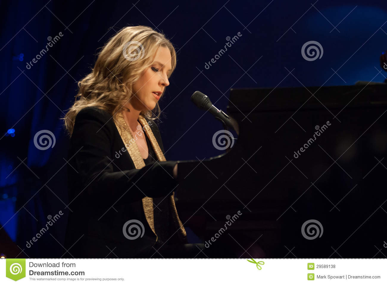 Diana Krall in concert  editorial stock photo  Image of gardens