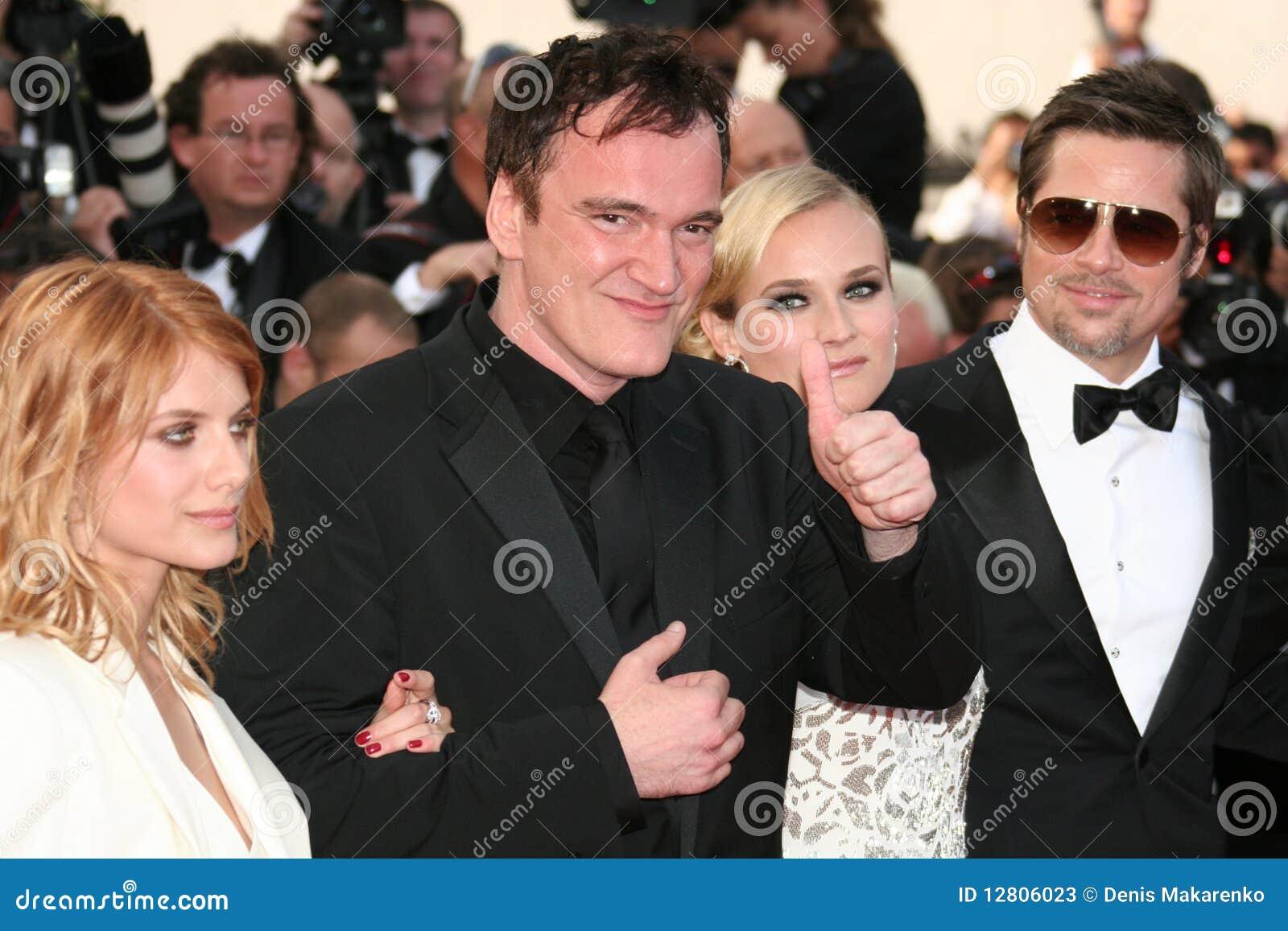 Diane Kruger, Brad Pitt, Quentin Tarantino e mim
