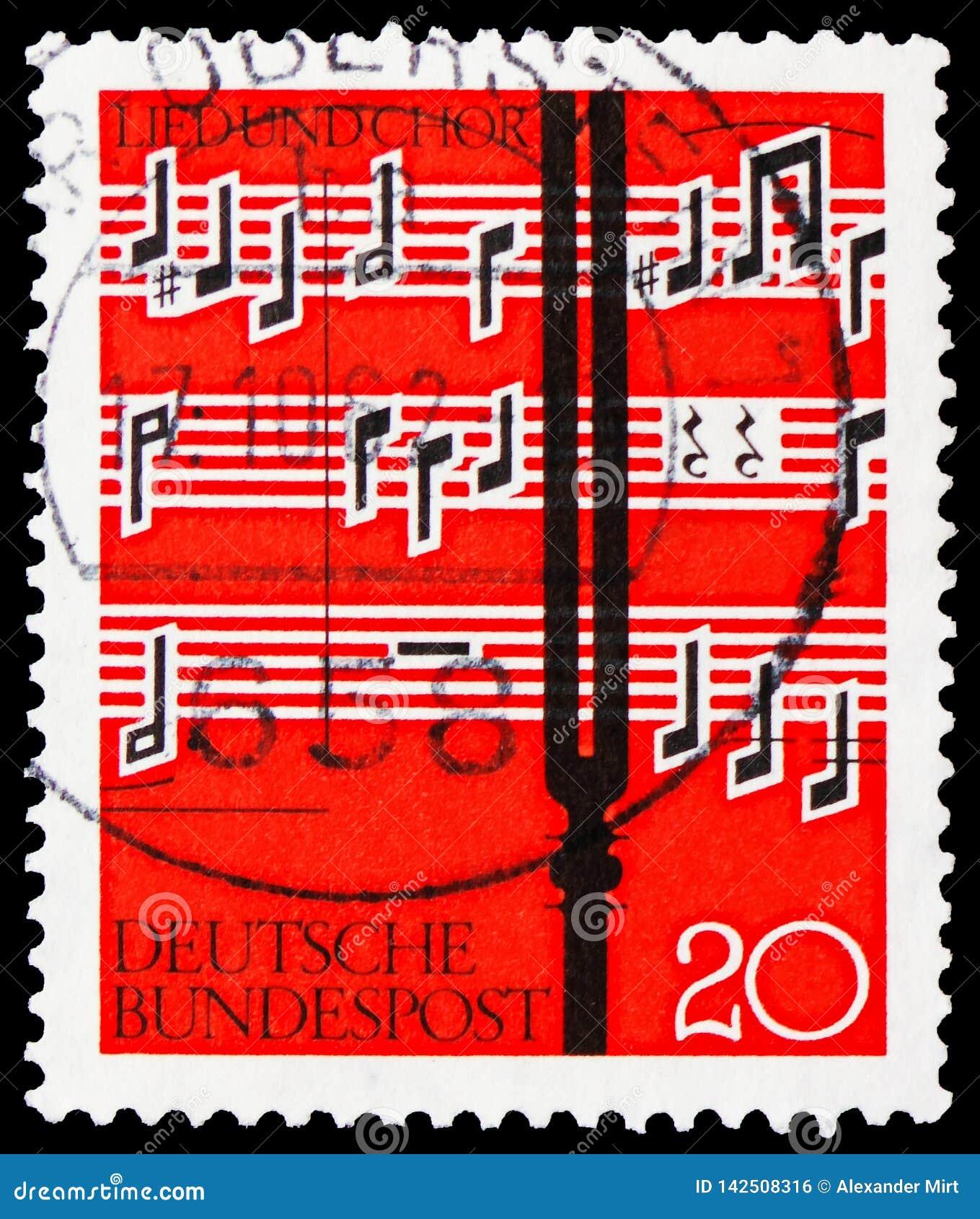 Diapason devant la notation musicale, le serie de chanson et de choeur, vers 1962