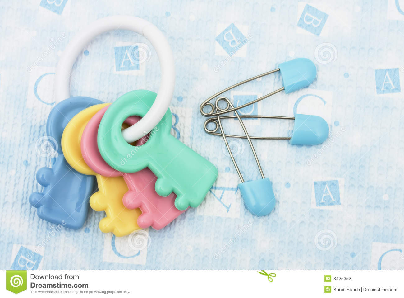 Diaper Pins and Rattle