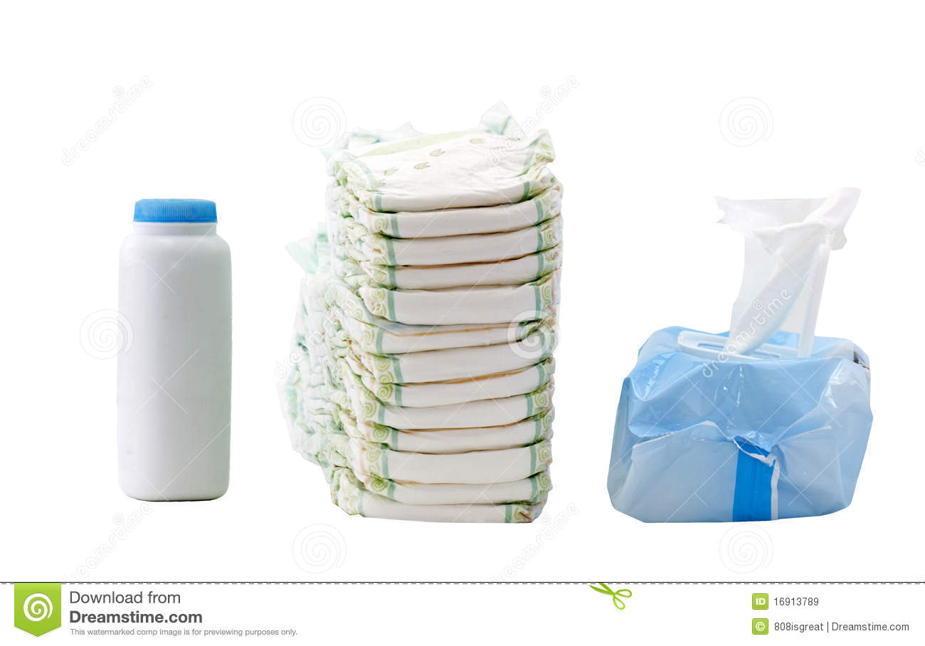 Diapers, wipes, powder stock image. Image of powder, pile ...