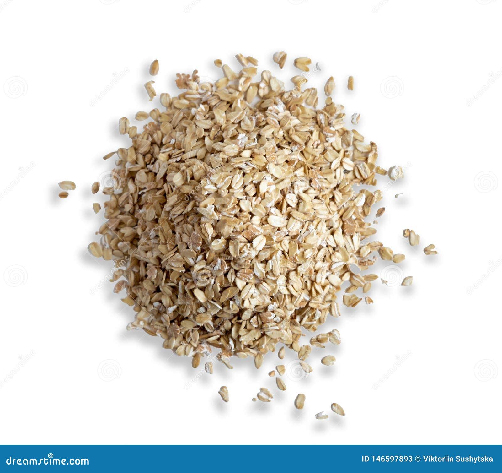 Diapositiva de la harina de avena aislada en el fondo blanco Opinión de la harina de avena de la foto del top Desayuno sano